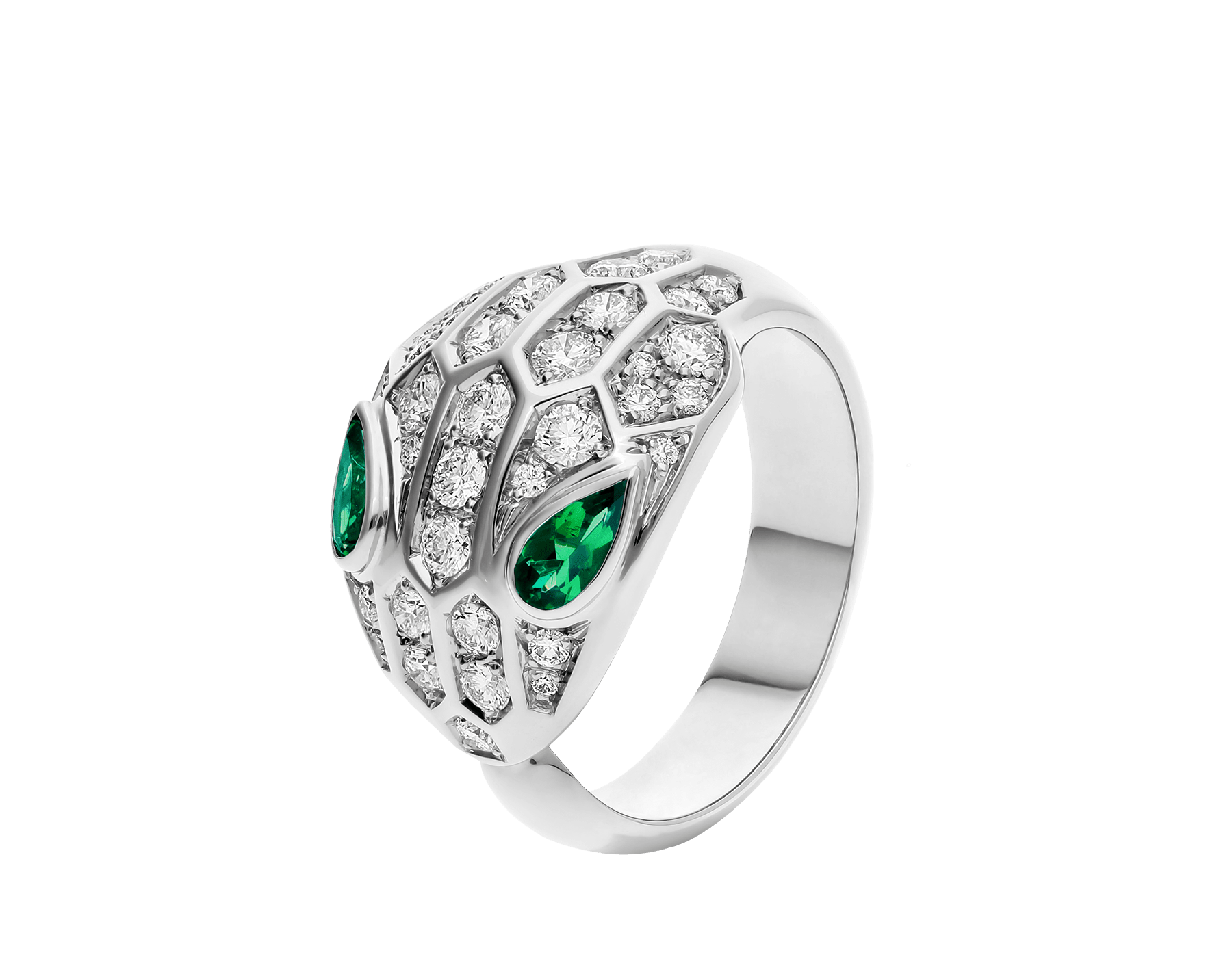 Serpenti ring in 18 kt white gold set with two emerald eyes (0.30 ct) and pavé diamonds (0.76 ct). AN858255 image 1
