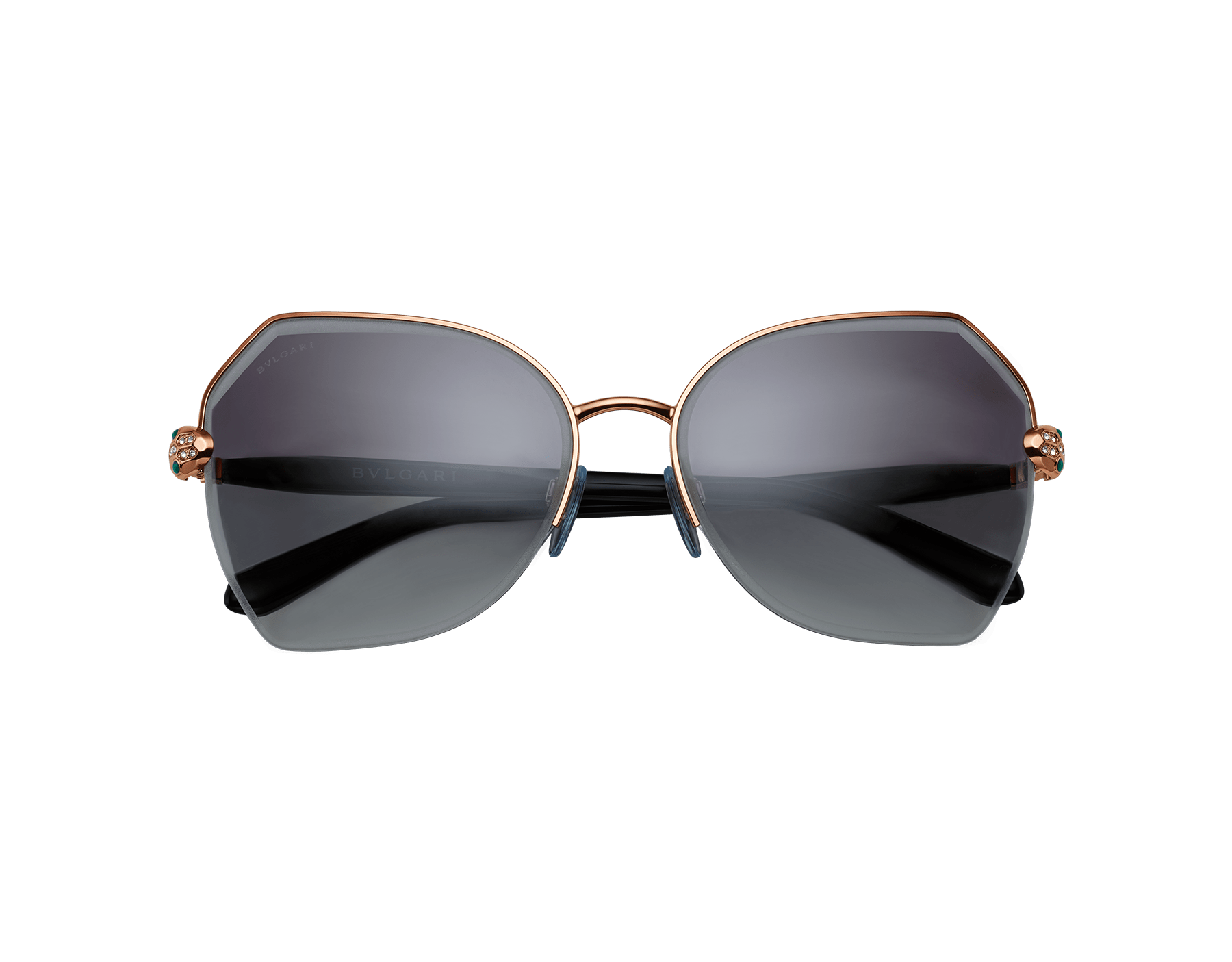 Serpenti semi-rimless butterfly metal frame with a snake head décor. 903504 image 2