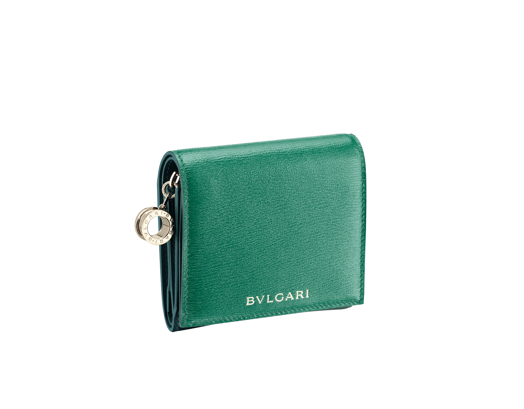 B.zero1 super compact wallet in emerald green and forest emerald goatskin. Iconic B.zero1 charm in light gold plated brass. 289138 image 1