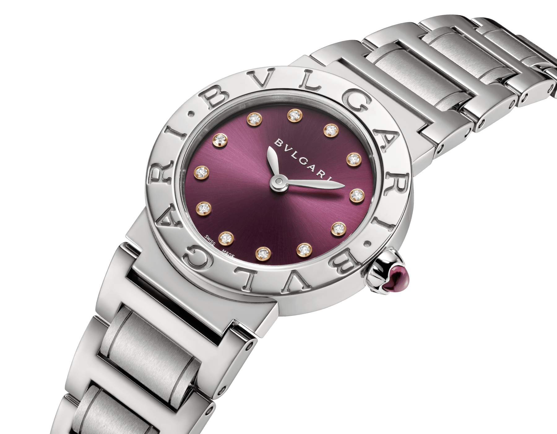 BVLGARI BVLGARI watch in stainless steel case and bracelet, with purple satiné soleil lacquered dial and diamond indexes 102606 image 2