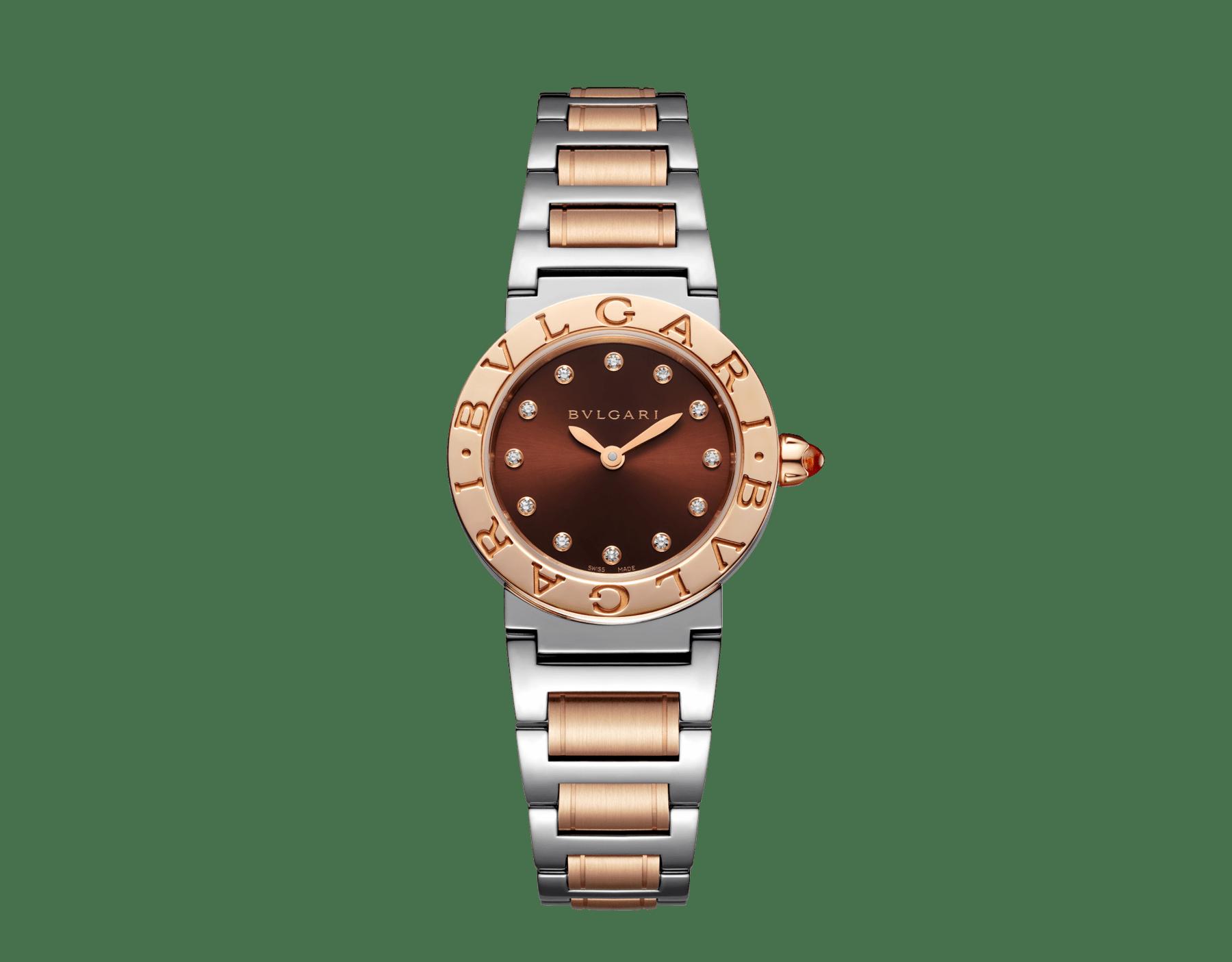 Montre BVLGARI BVLGARI avec boîtier et bracelet en or rose 18K et acier inoxydable, cadran laqué brun soleil et index sertis de diamants. Petit modèle. 102155 image 1