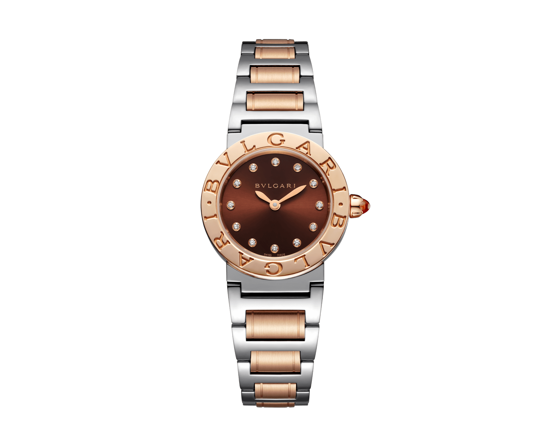 BVLGARI BVLGARI 腕錶,精鋼和 18K 玫瑰金錶殼和錶帶,棕色太陽紋漆面錶盤,鑽石時標。S 尺寸。 102155 image 1