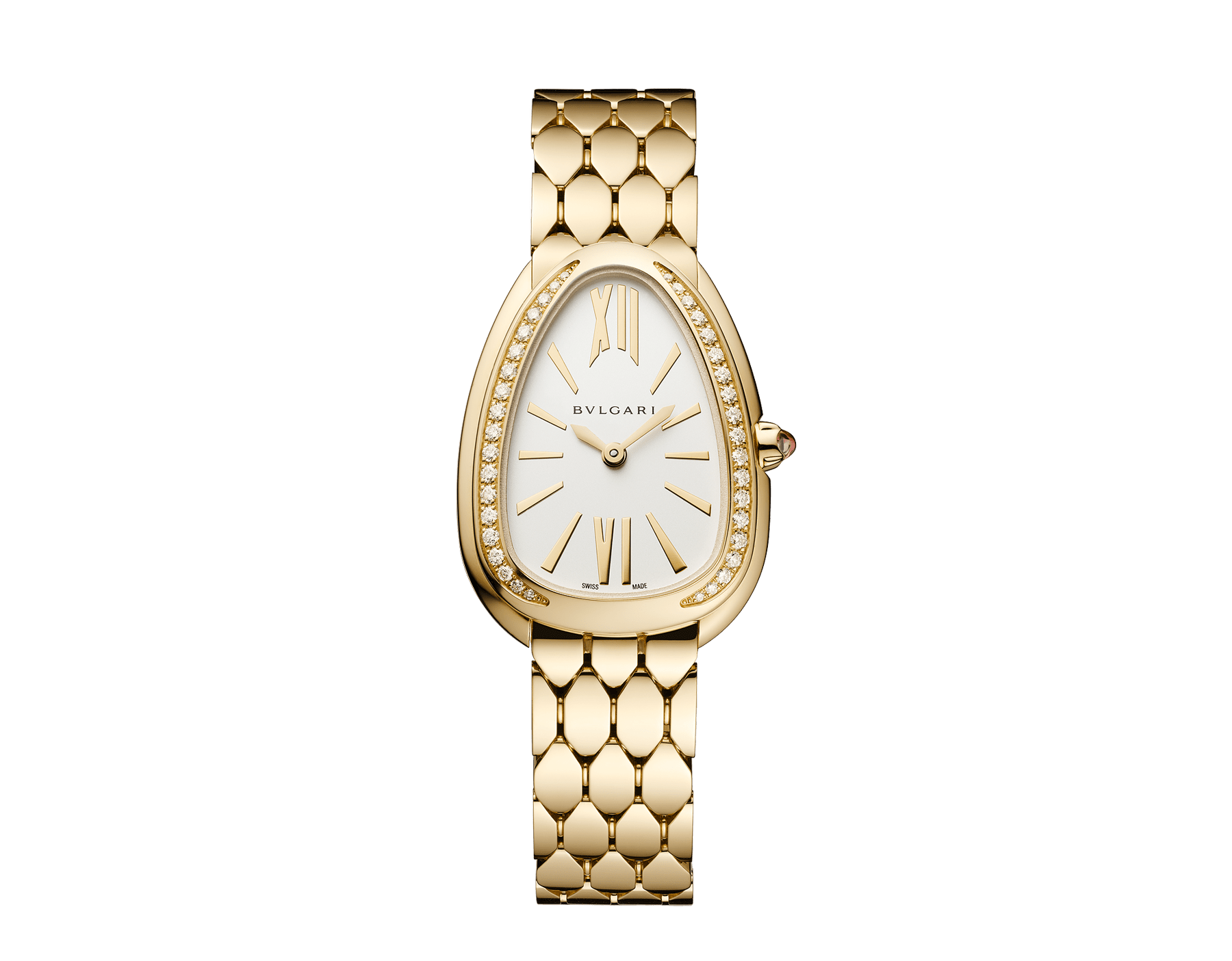 Serpenti Seduttori watch with 18 kt yellow gold case, 18 kt yellow gold bracelet, 18 kt yellow gold bezel set with diamonds and a white silver opaline dial. 103147 image 1