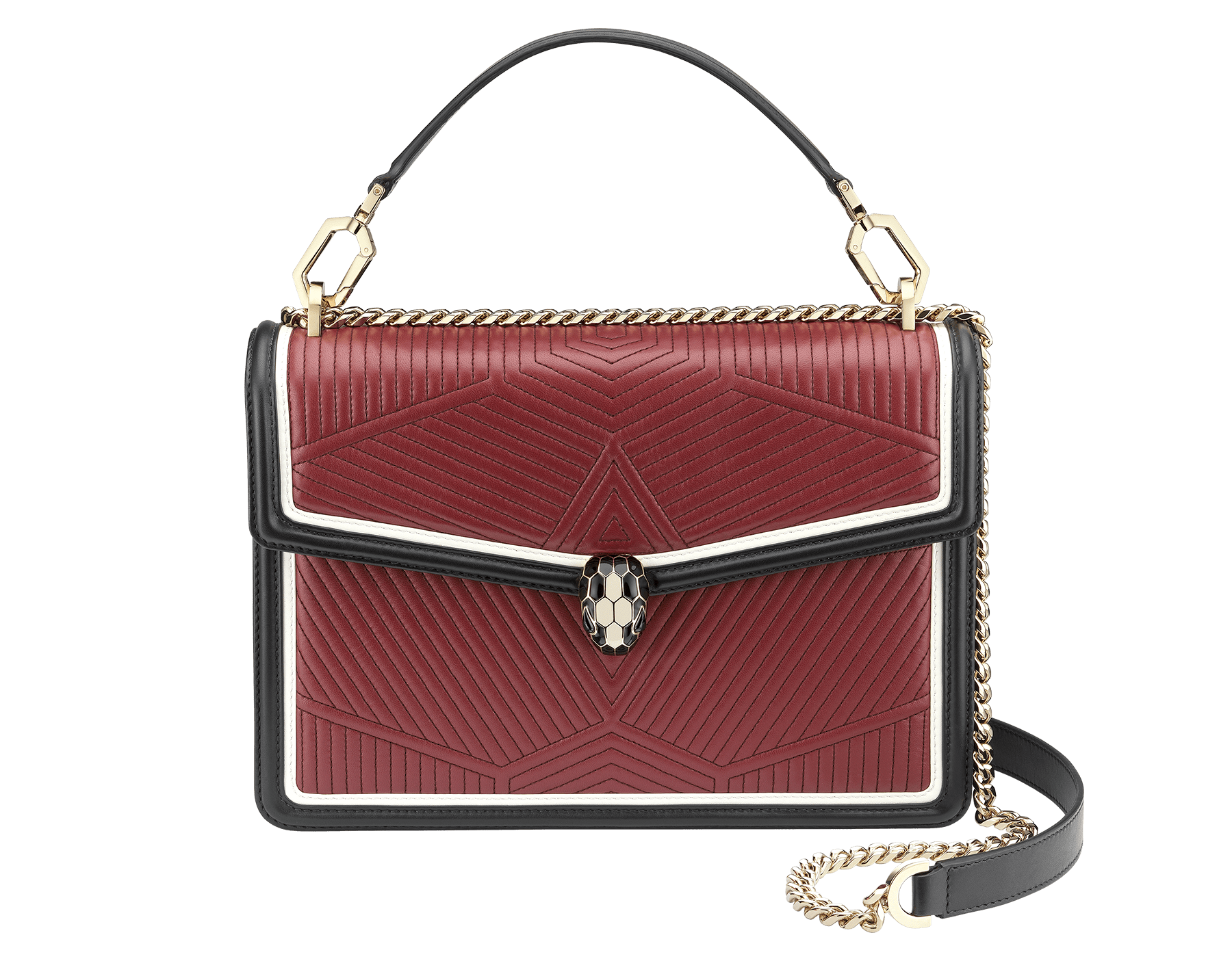 Top handle bag Serpenti Forever featuring a Framed Quilted motif in roman garnet nappa and black smooth calf leather. Brass light gold plated tempting snake head closure in black and white enamel, with eyes in black onyx. 973-FQDc image 1