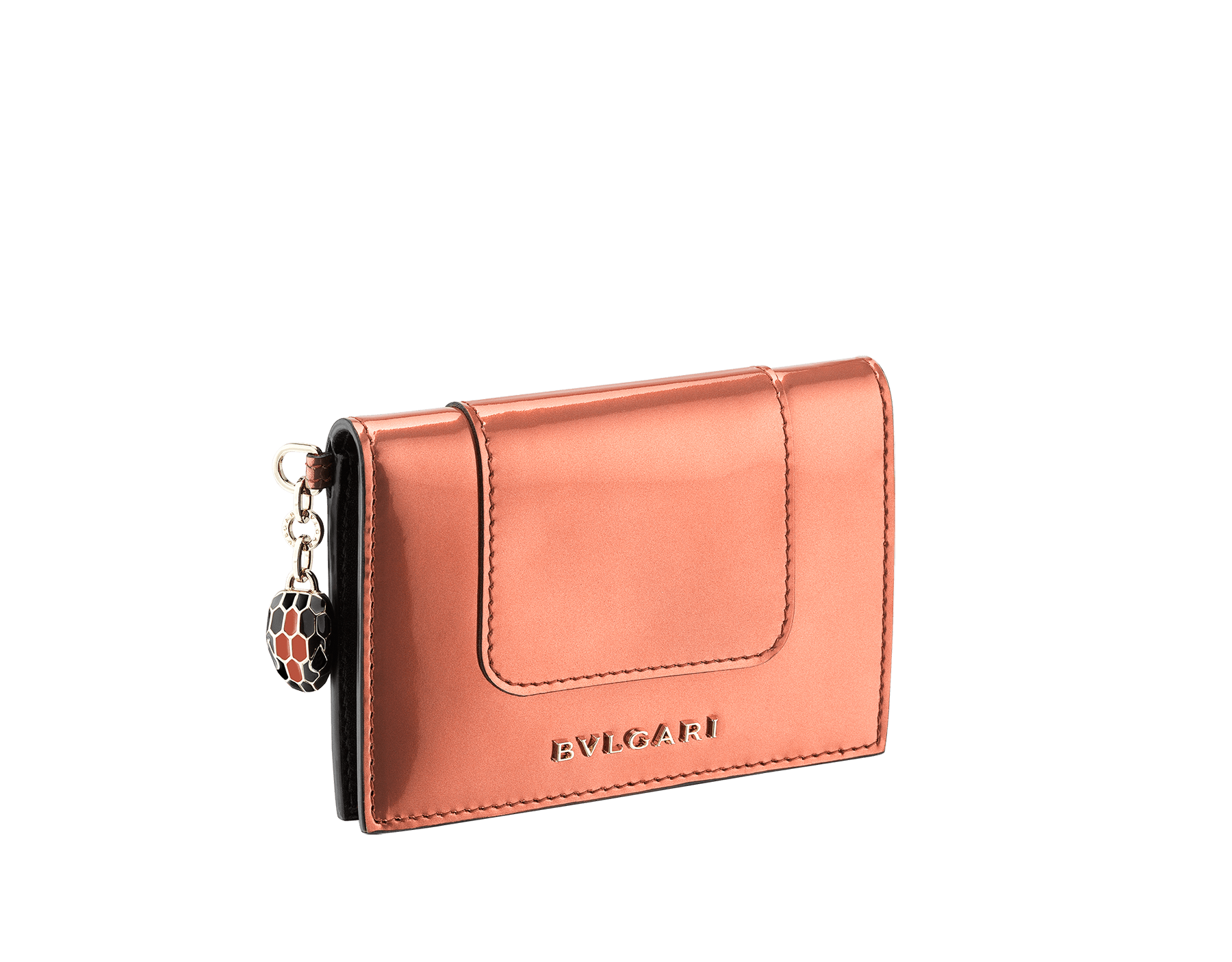 Folded credit card holder in rose quartz brushed metallic calf leather, with brass light gold plated hardware and stud closure. Serpenti head charm in black and white enamel, with green enamel eyes. SEA-CC-HOLDER-FOLD-BMCLa image 1