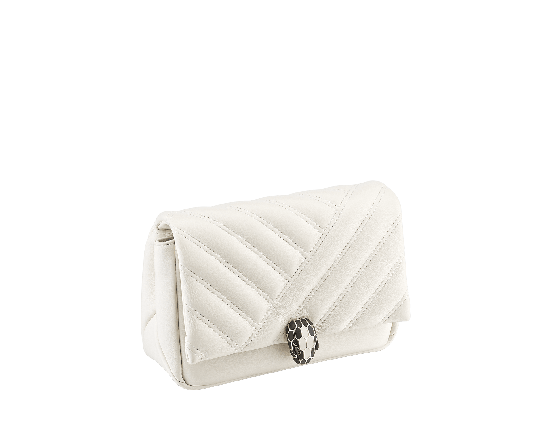 Serpenti Cabochon micro bag in soft matelassé white agate calf leather, with a graphic motif. Brass light gold plated tempting snake head closure in black and white agate enamel and black onyx eyes. 288760 image 2