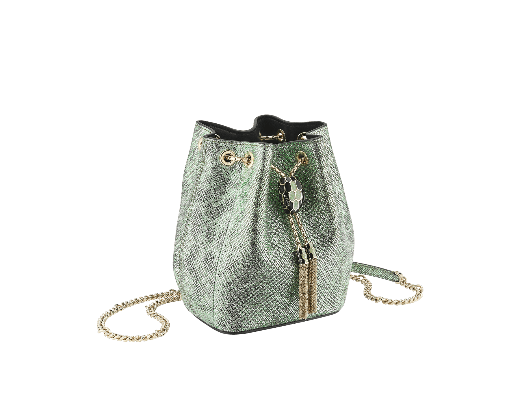 """Serpenti Forever"" micro bucket in mint metallic karung and a black nappa internal lining. Hardware in light gold plated brass and snakehead closure in black and glitter mint enamel, with eyes in black onyx. 289950 image 2"