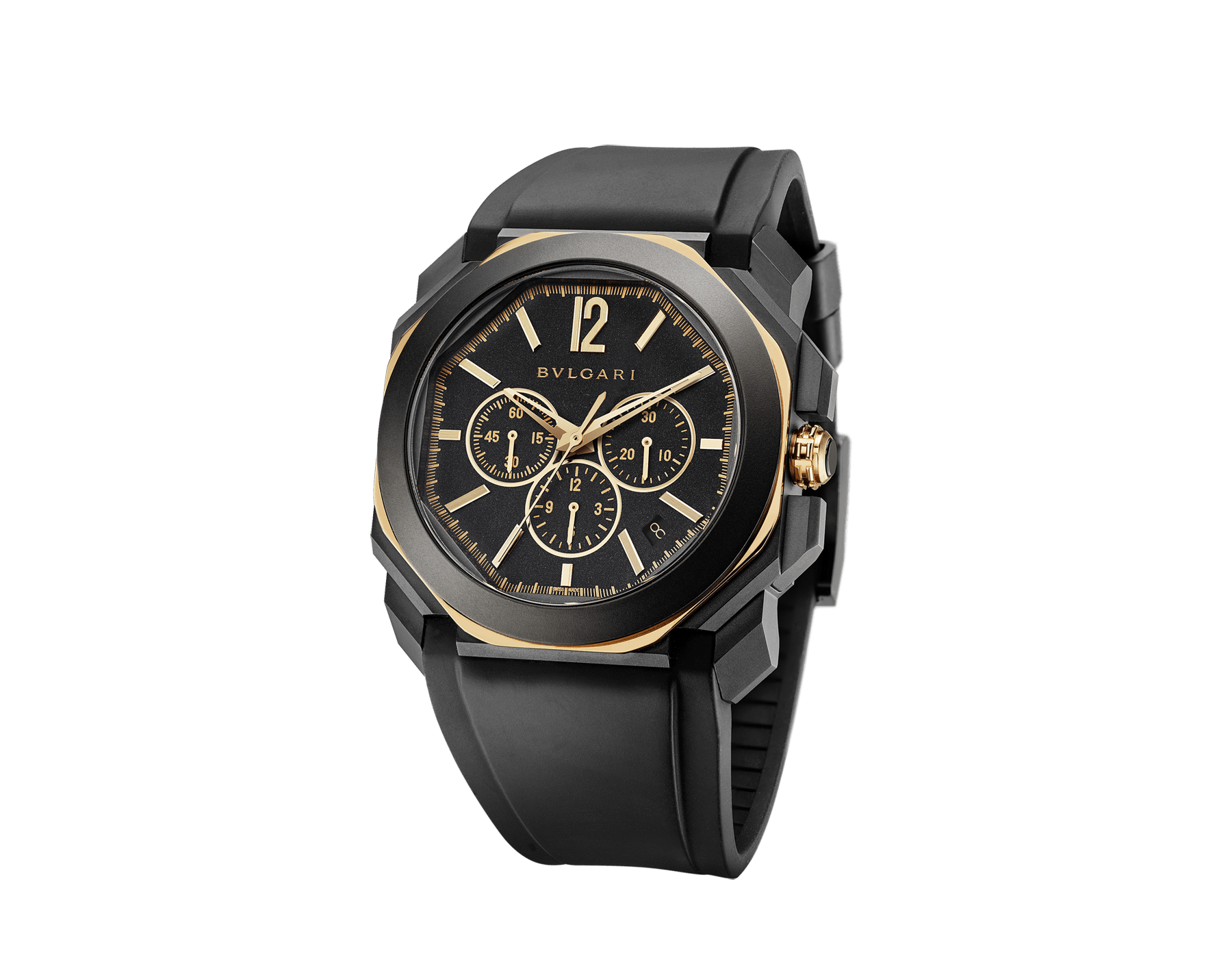 Octo L'Originale watch with mechanical manufacture high-frequency chronograph, silicon escapement, automatic winding and date, sandblasted stainless steel case treated with Diamond Like Carbon, 18 kt rose gold octagon, transparent case back, anthracite dial and black rubber bracelet 103075 image 2