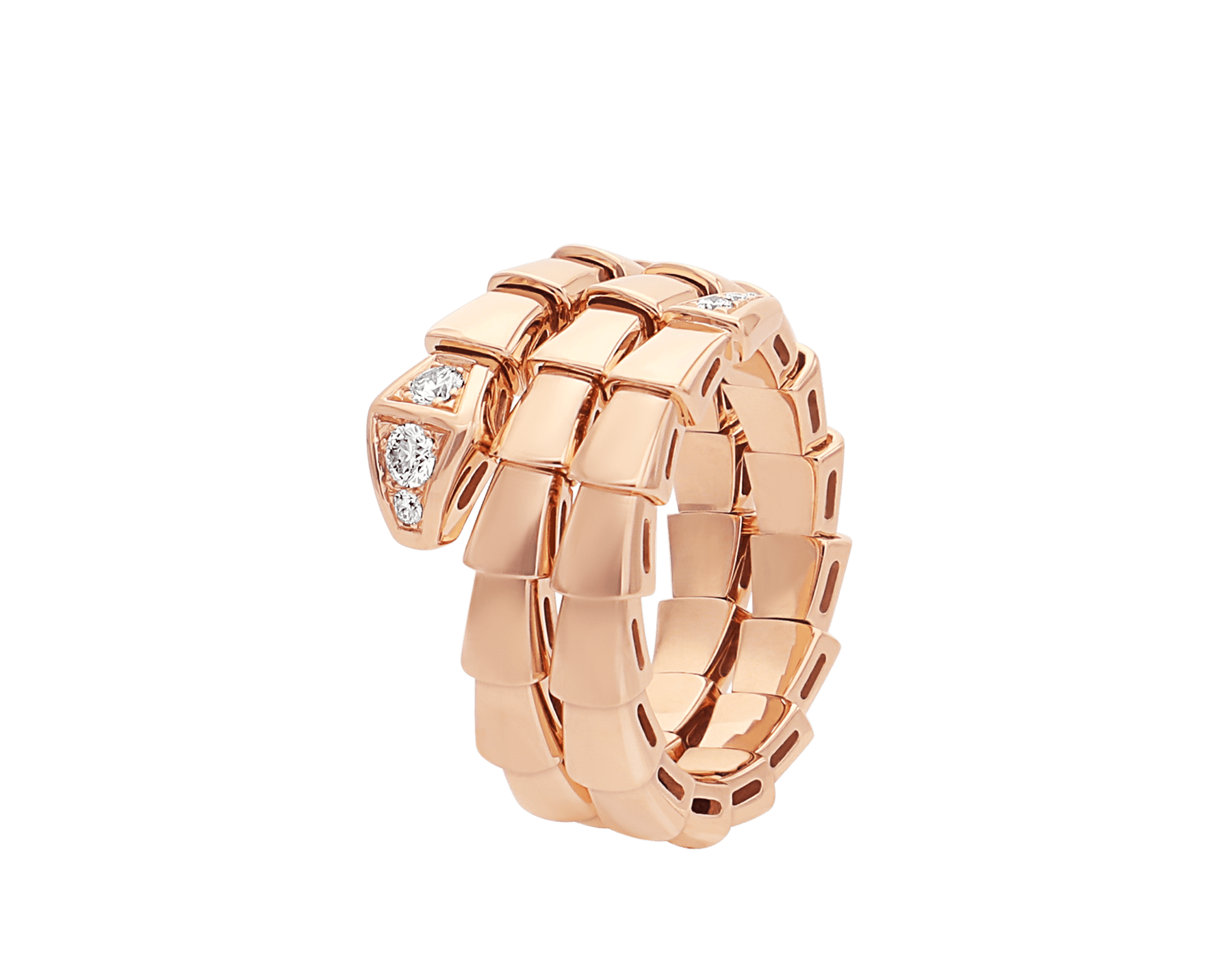 Serpenti Viper two-coil 18 kt rose gold ring set with demi-pavé diamonds AN858824 image 1
