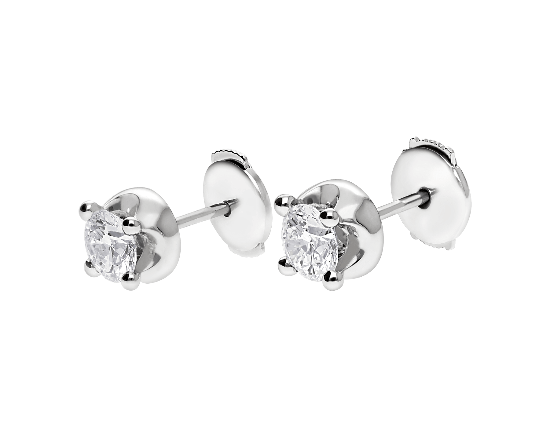 Corona 18 kt white gold earrings set with round brilliant cut diamonds OR-CORONA image 2