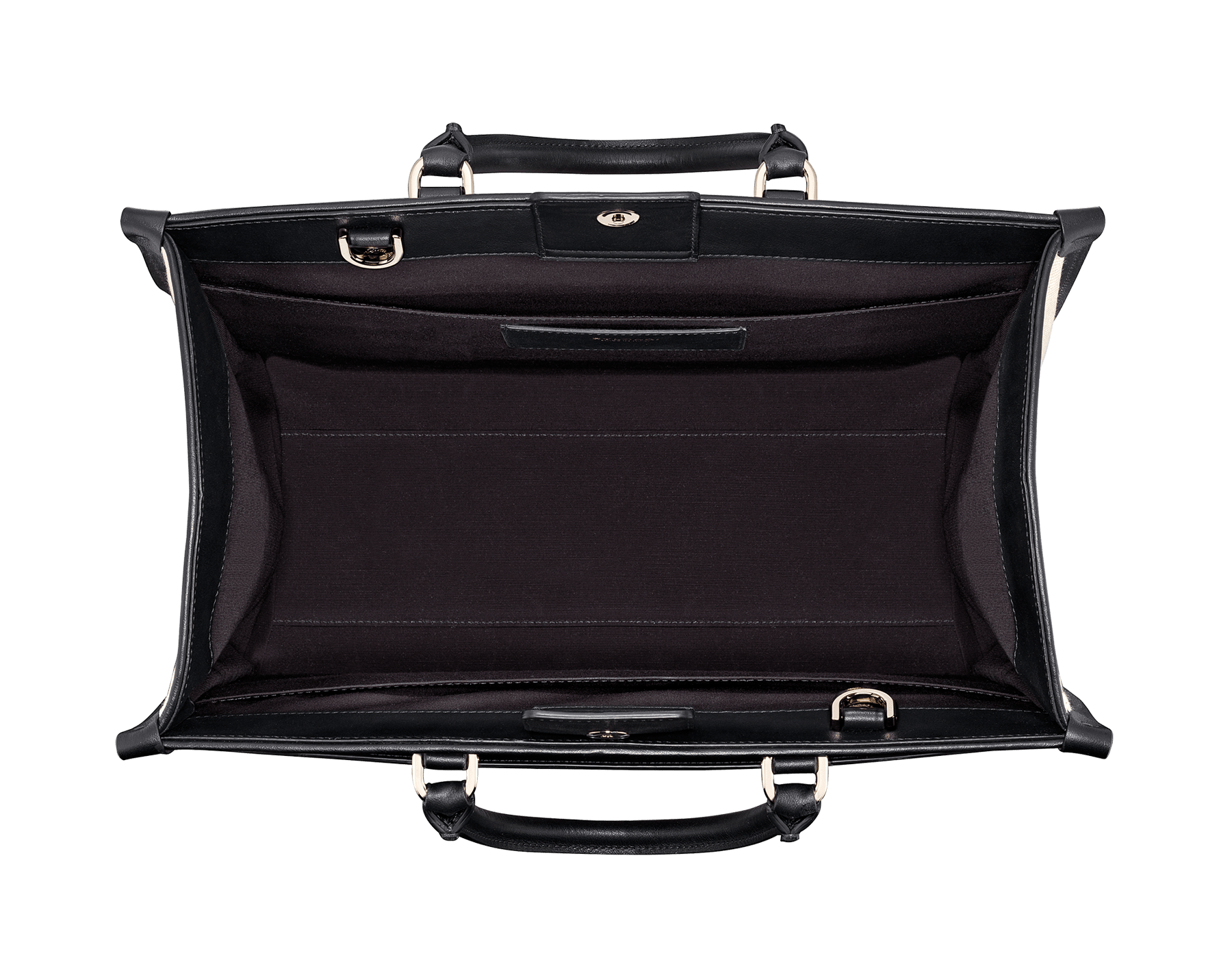 """""""Bvlgari Logo"""" large tote bag in black calf leather, with black grosgrain inner lining. Bvlgari logo featured with dark ruthenium-plated brass chain inserts on the black calf leather. BVL-1160 image 5"""