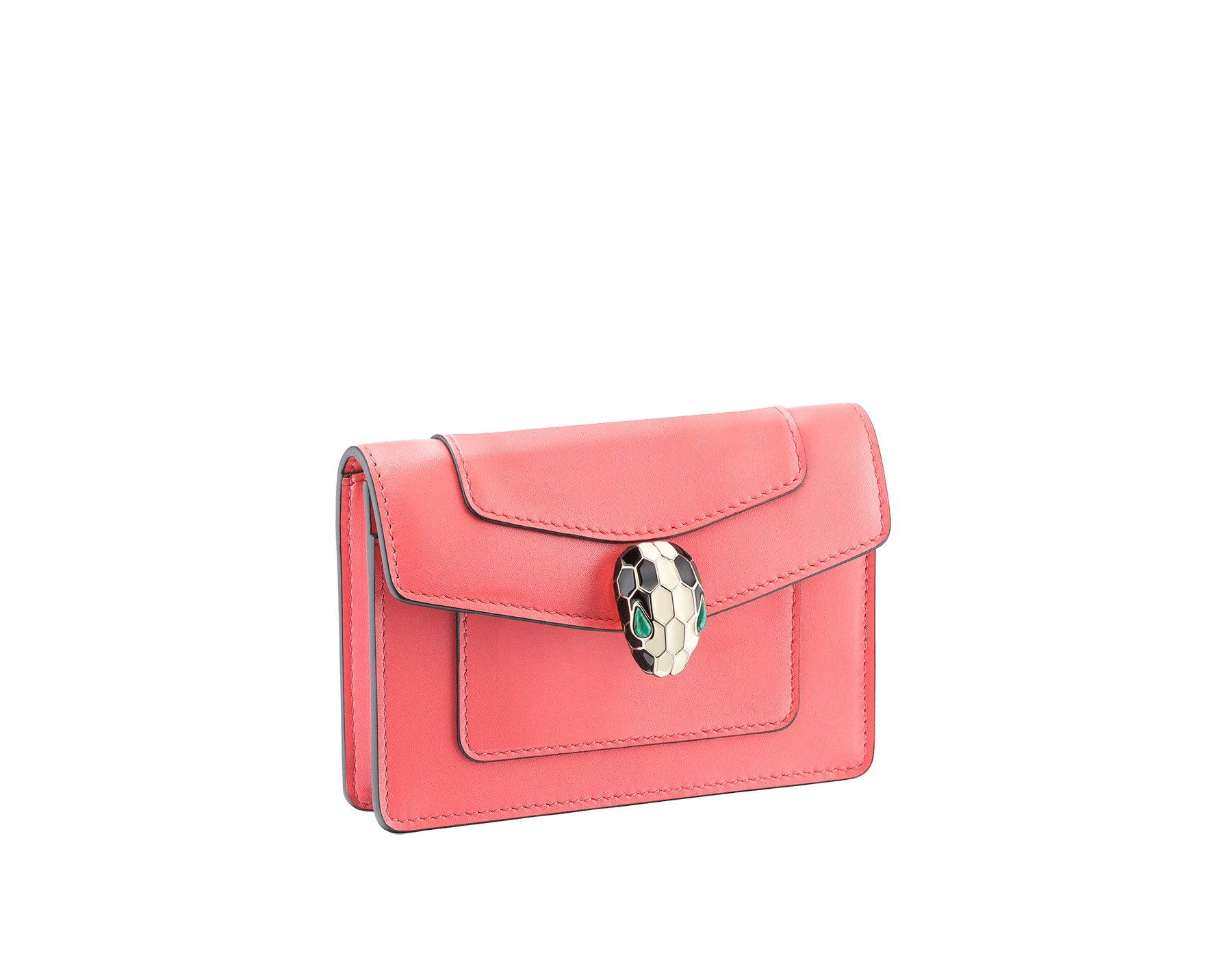 Serpenti Forever pocket credit card holder crafted silky coral and flamingo quartz calf leather, with flamingo quartz nappa lining. Iconic brass light gold plated snakehead stud closure in black and white enamel, with eyes in green malachite 289009 image 1