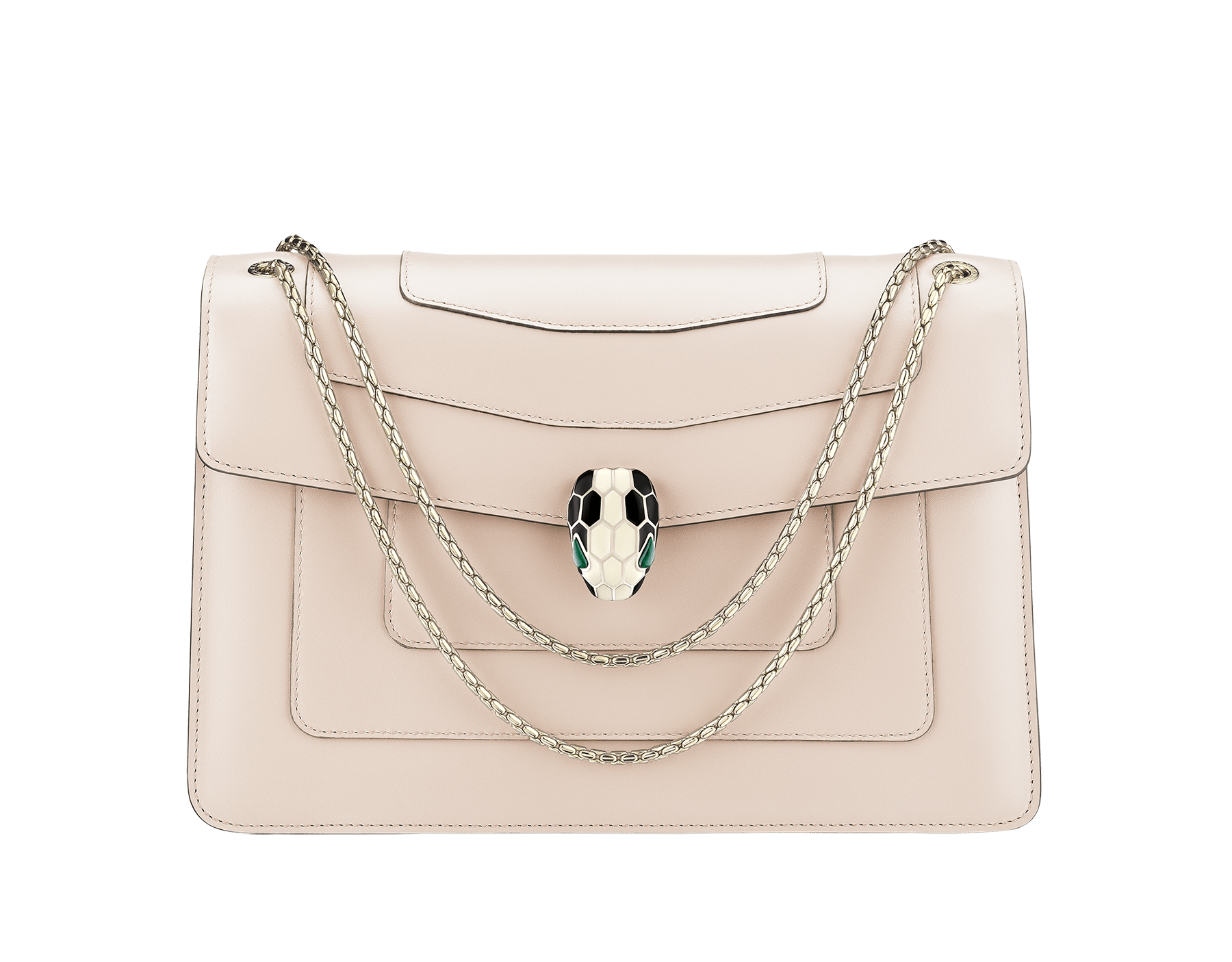 """""""Serpenti Forever """" shoulder bag in carmine jasper calf leather. Iconic snakehead closure in light gold plated brass enriched with black and white enamel and green malachite eyes 521-CLd image 1"""