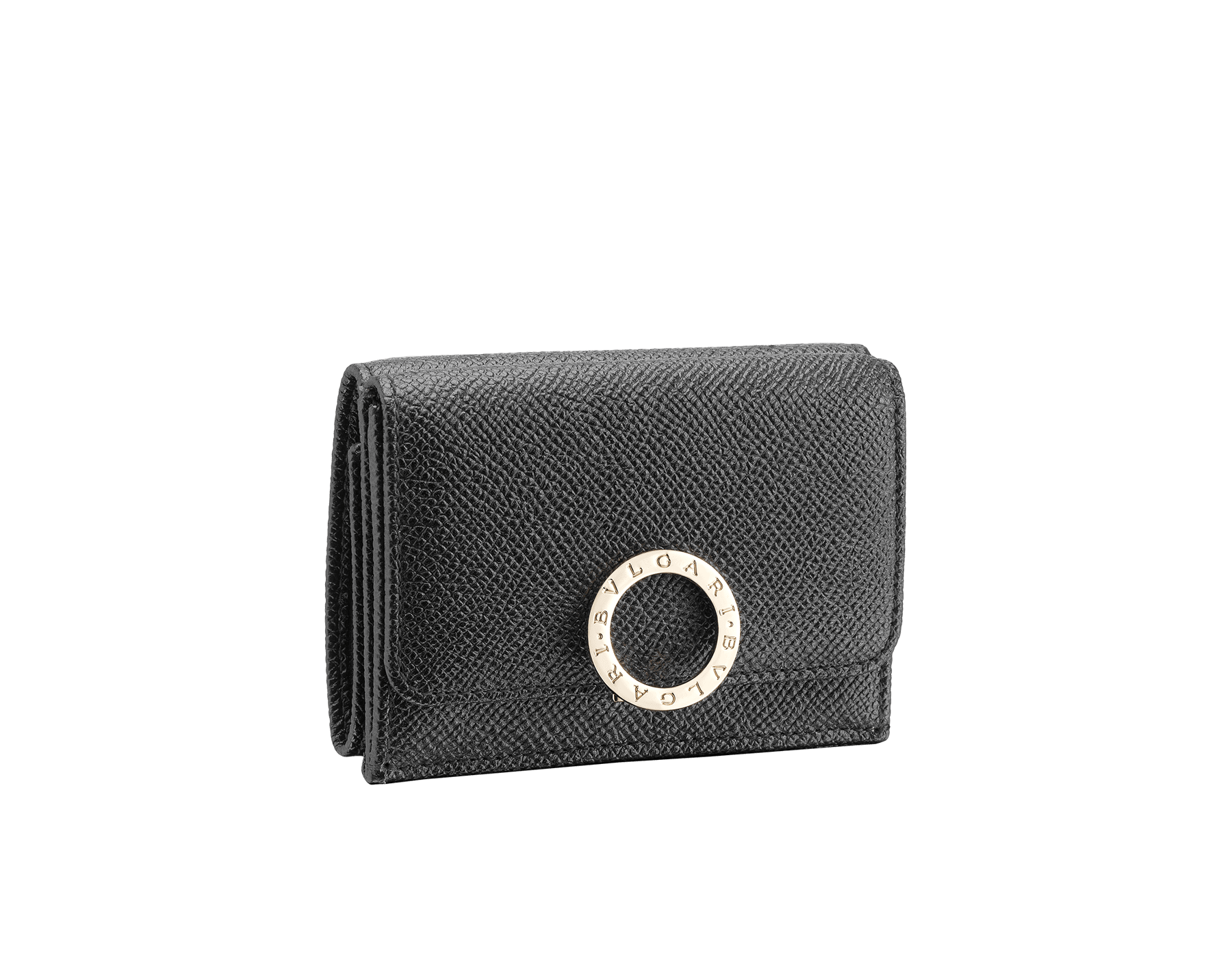 BVLGARI BVLGARI super compact wallet in black grain calf leather and black nappa leather. Iconic logo closure clip in light gold plated brass. 288648 image 1