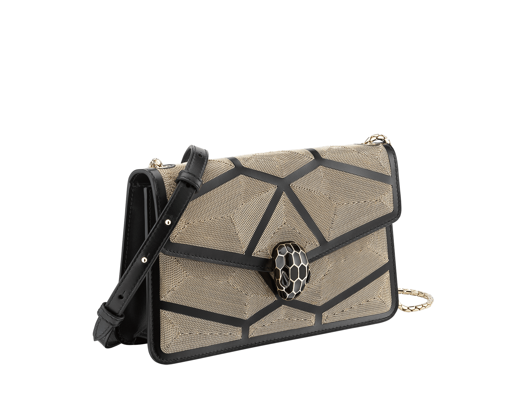 """Serpenti Forever"" crossbody bag in black calf leather with a Million Chain motif. Iconic snake head closure in light gold plated brass enriched with black enamel and black onyx eyes. 288909 image 2"