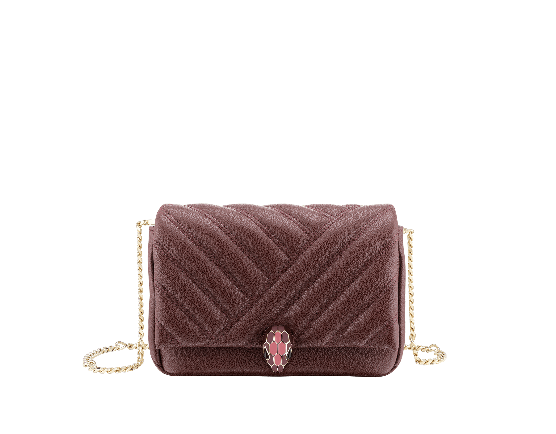 """Serpenti Cabochon"" crossbody mini bag in soft quilted Oxblood bordeaux grainy calf leather, with a graphic motif, and Berry Tourmaline fuchsia nappa leather internal lining. Tempting snakehead closure in light gold plated brass enriched with dégradé Oxblood bordeaux enamel from ultrabright to bright, with black onyx eyes. 290648 image 1"