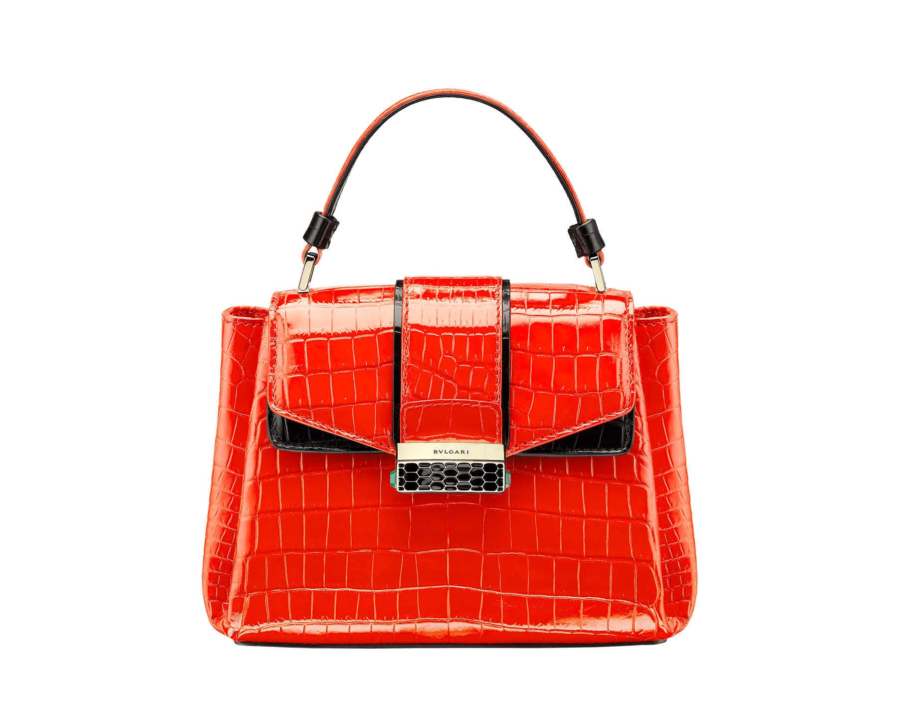 Top handle bag Serpenti Viper in jasper flame and black shiny crocodile skin. 282925 image 1