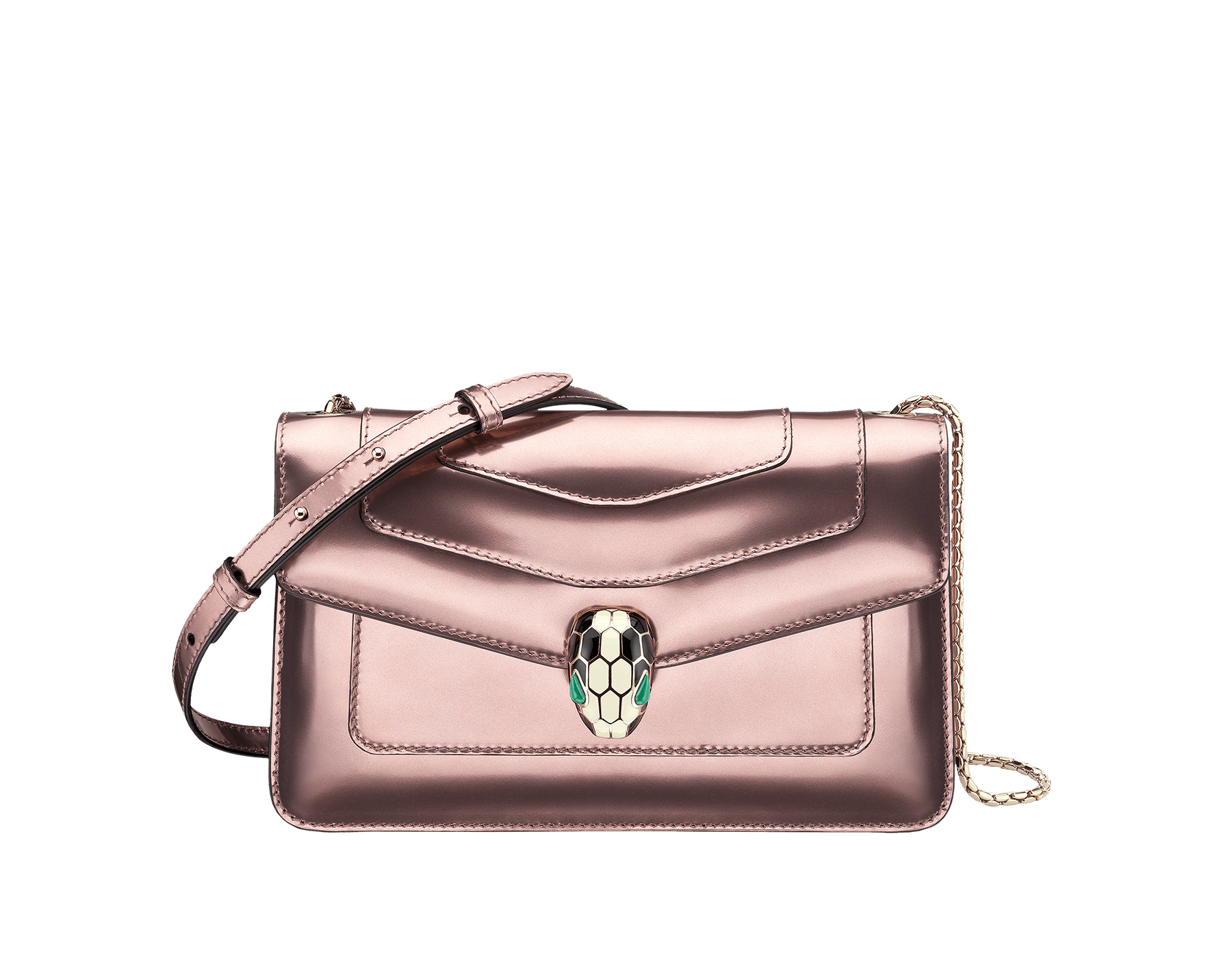 Flap cover bag Serpenti Forever in rose quartz brushed metallic calf leather. Brass light gold plated snake head closure in black and white enamel, with eyes in green malachite. 284801 image 1