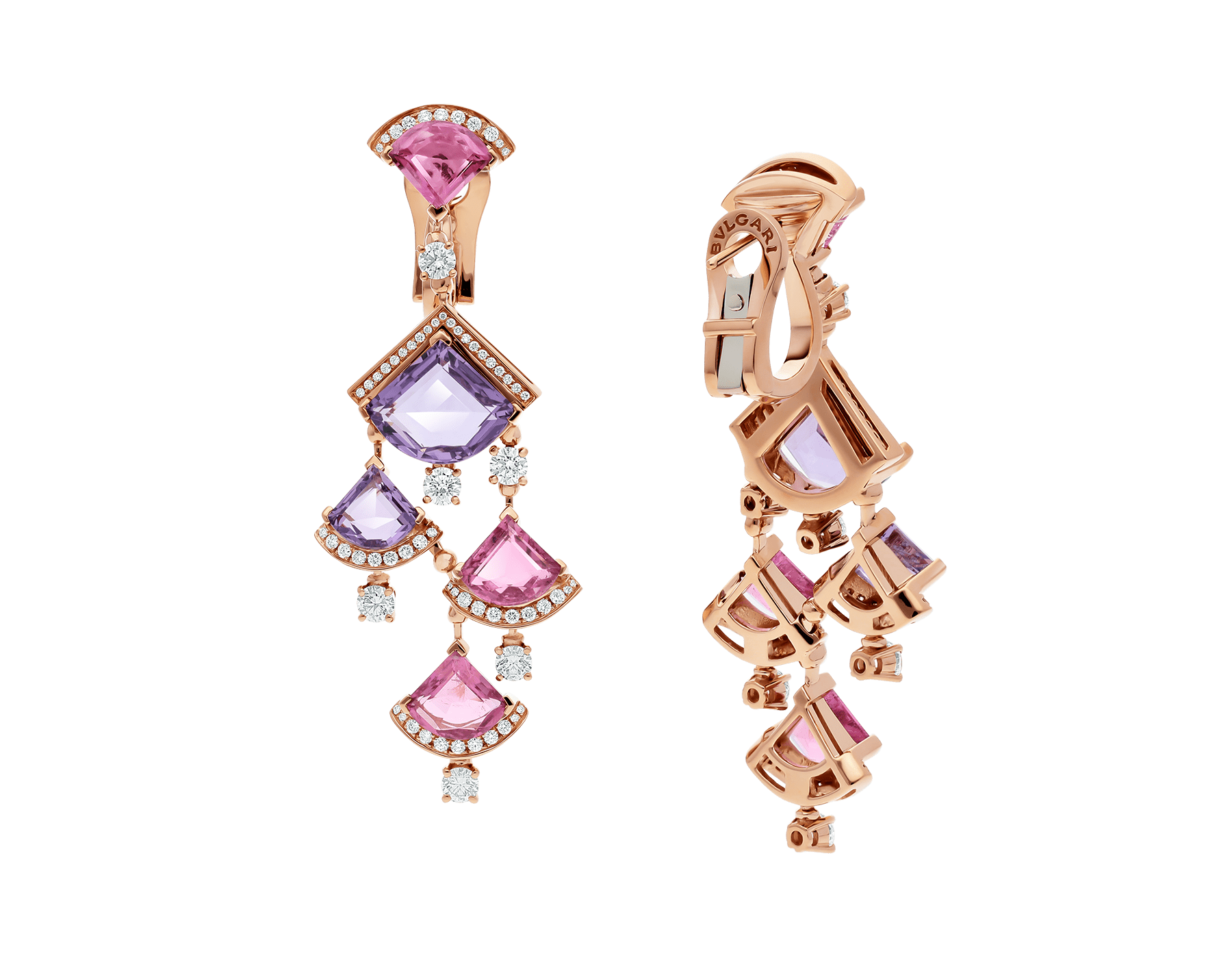 DIVAS' DREAM earrings in 18 kt rose gold, set with pink rubellite, amethyst and pavé diamonds. 354078 image 3