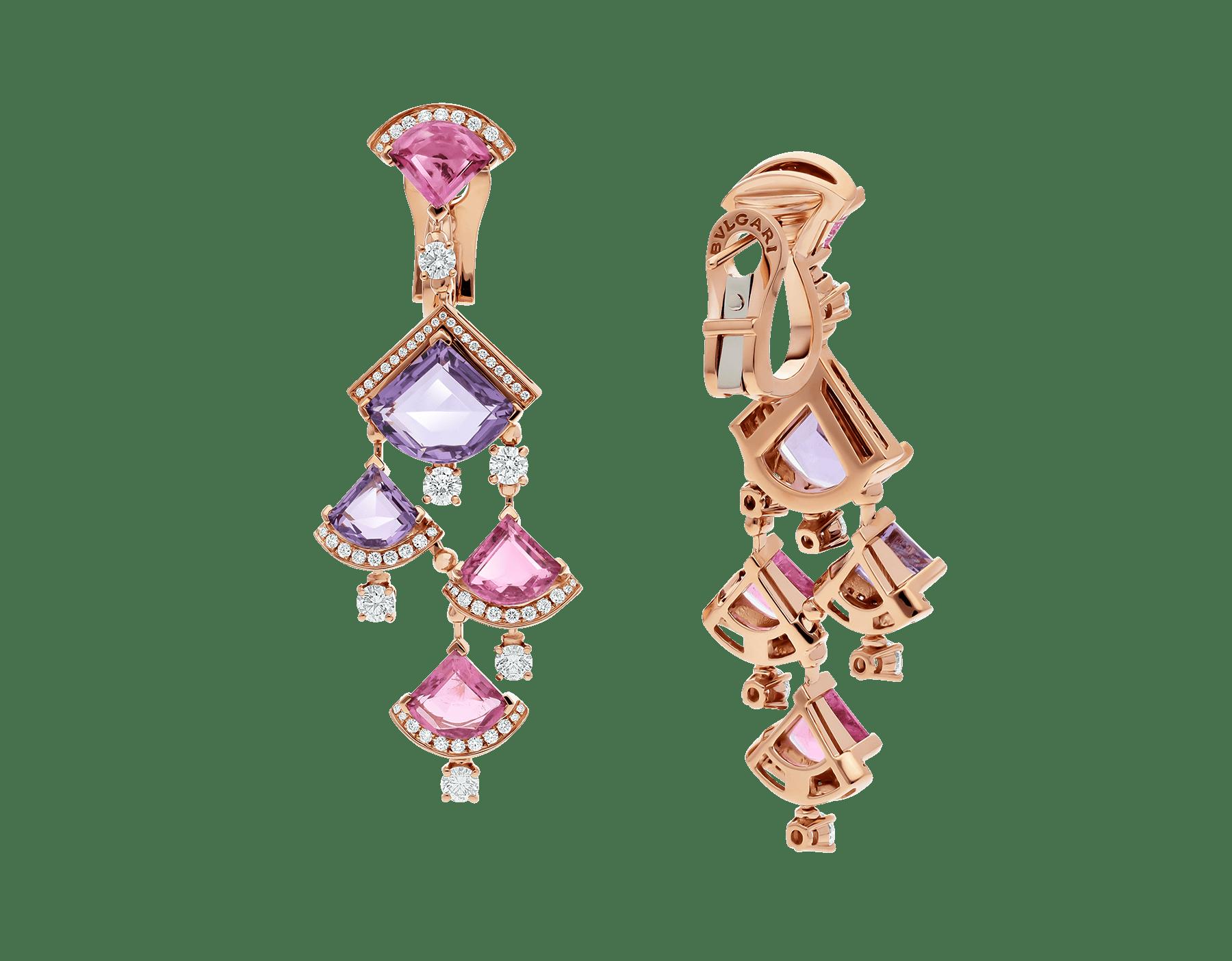 Серьги DIVAS' DREAM, розовое золото 18 карат, розовый рубеллит, аметист, бриллиантовое паве. 354078 image 3