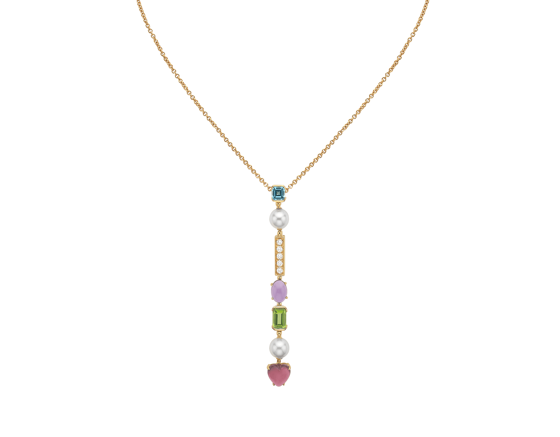 Allegra 18 kt yellow gold pendant necklace set with pink tourmaline, peridot, amethyst, blue topaz, Akoya cultured pearls and pavé diamonds 334667 image 1