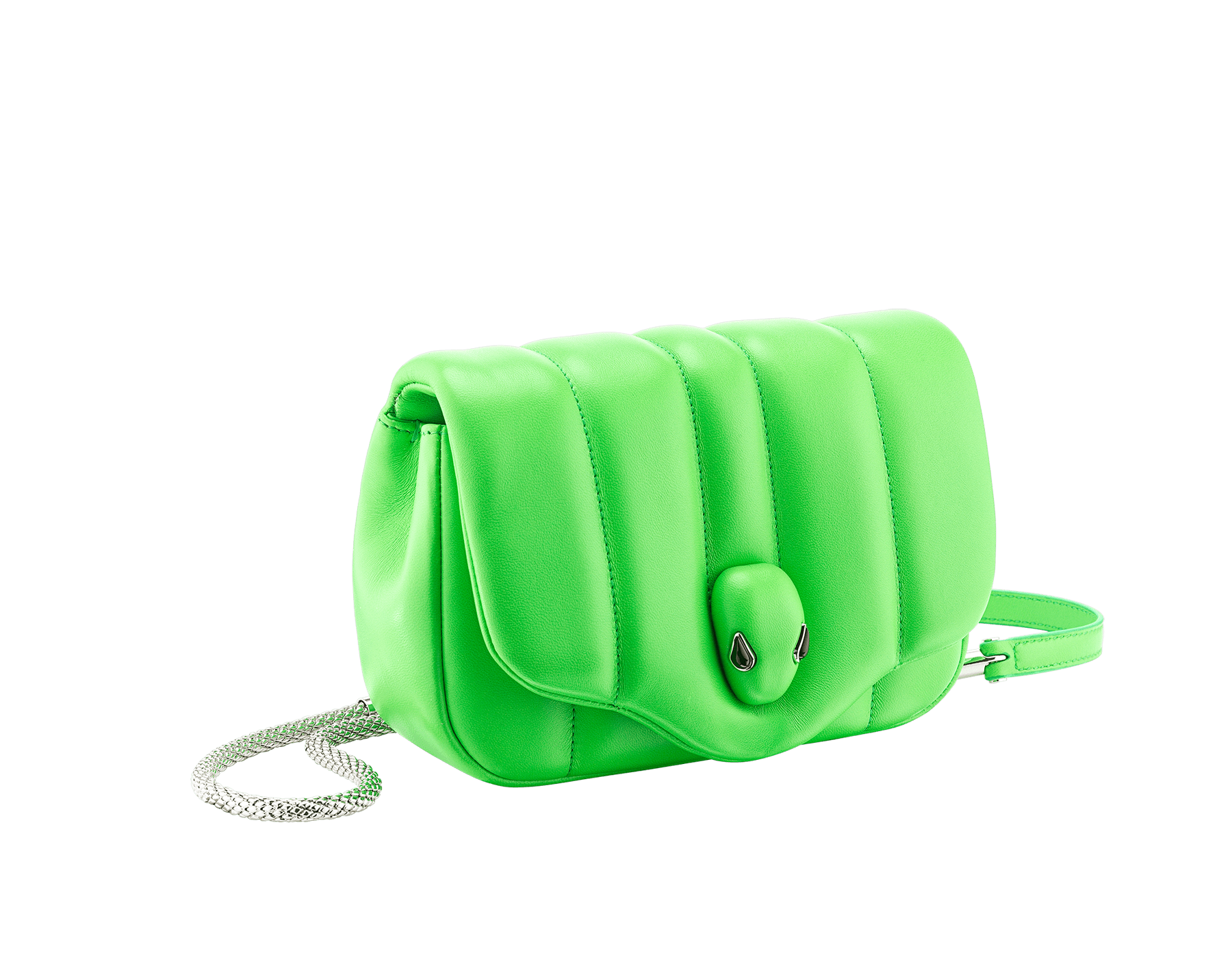 """Ambush x Bvlgari"" belt bag in bright green nappa leather. New Serpenti head closure in palladium plated brass dressed with bright green nappa leather, finished with seductive black onyx eyes. Limited edition. YA-1059 image 2"