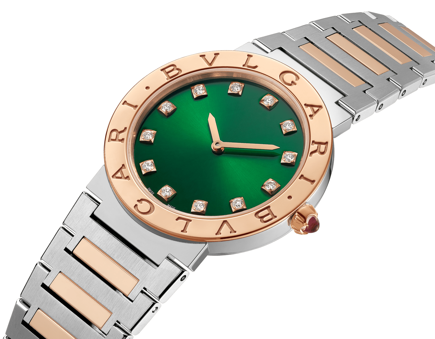 BVLGARI BVLGARI watch in 18 kt rose gold and stainless steel case and bracelet, 18 kt rose gold bezel engraved with double logo, green satiné soleil lacquered dial and diamond indexes 103202 image 2