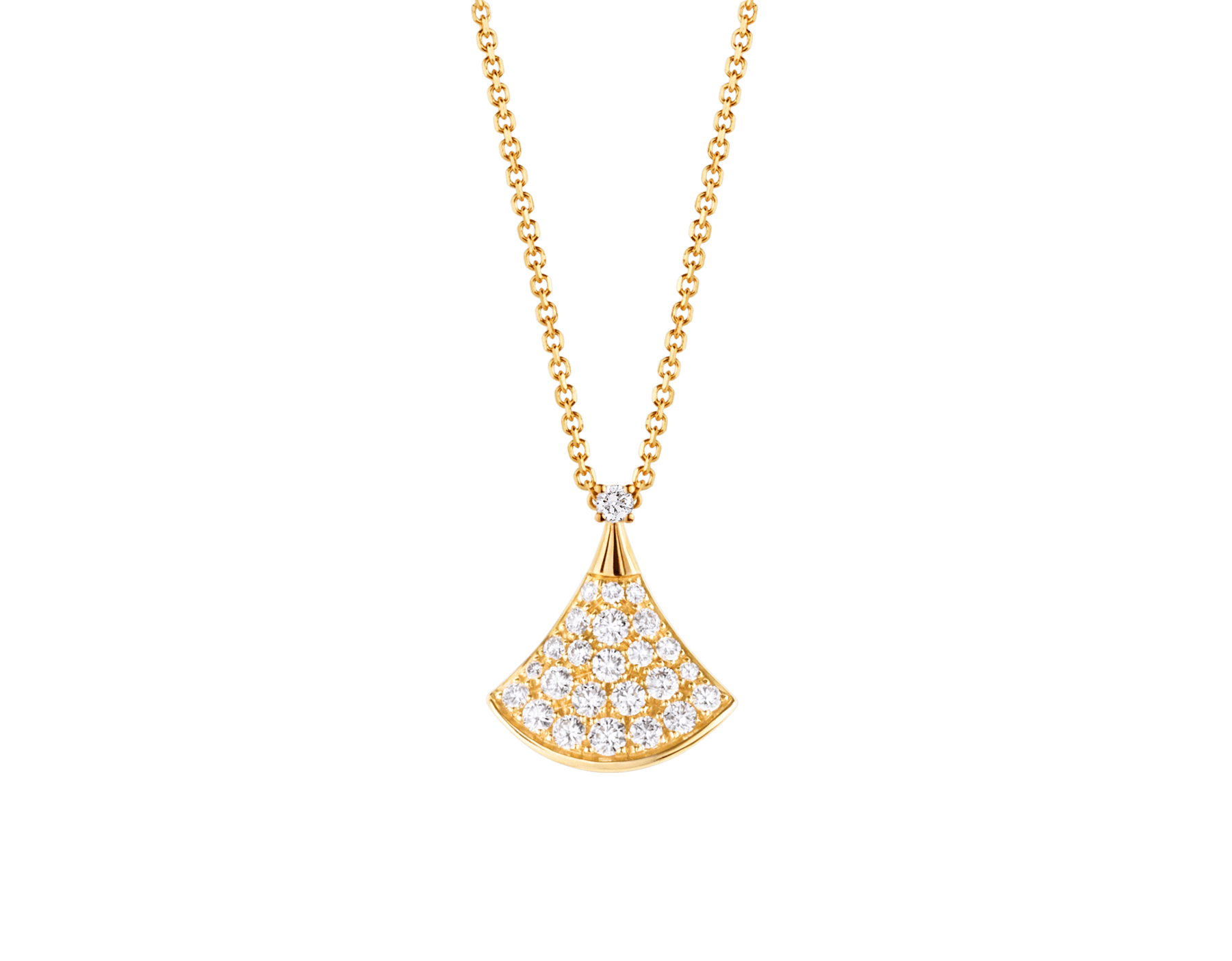 DIVAS' DREAM 18 kt yellow gold necklace with pendant set with one diamond and pavé diamonds 357511 image 1
