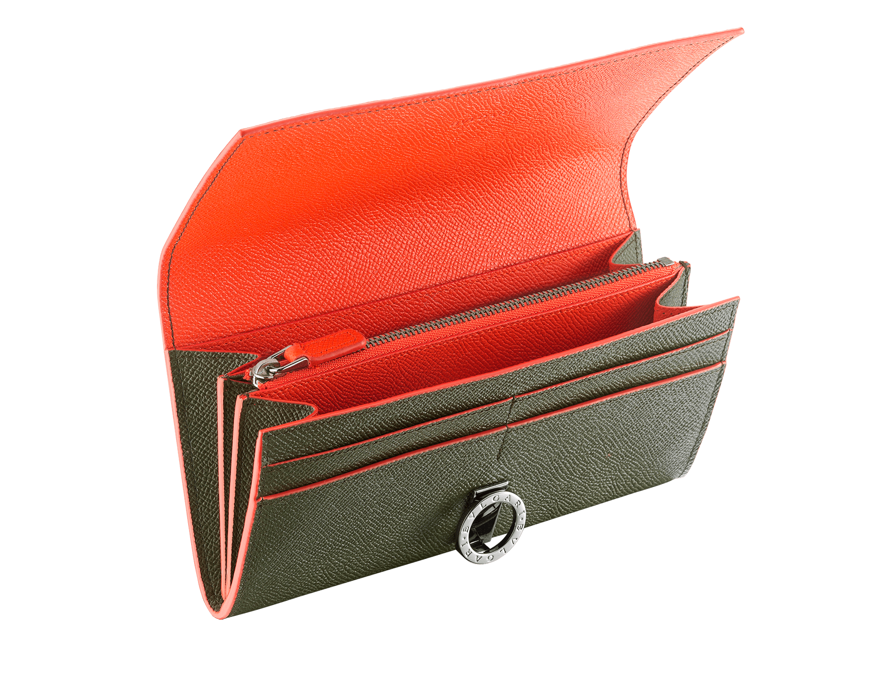 """""""BVLGARI BVLGARI"""" large wallet in mimetic jade and fire amber grain calf leather. Iconic logo clip closure in ruthenium plated brass. 289858 image 2"""