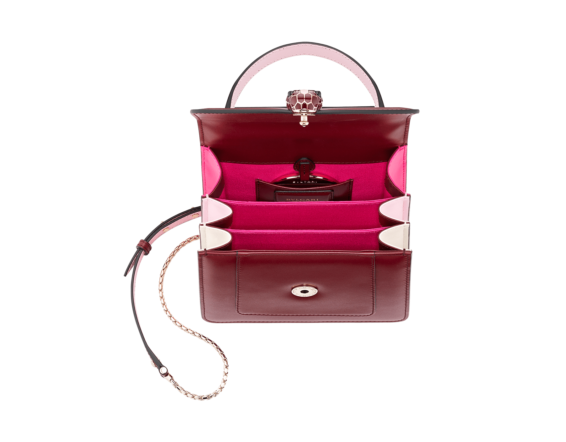 Serpenti Forever crossbody bag in Roman garnet calf leather, with flash amethyst, rosa di francia and white agate calf leather sides. Iconic snakehead closure in light gold plated brass embellished with Roman garnet and rosa di francia enamel and black onyx eyes. 288891 image 5