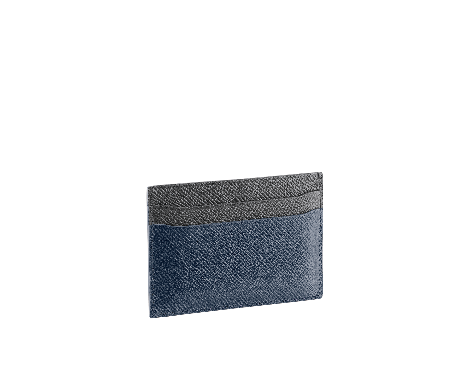 BVLGARI BVLGARI credit card holder in denim sapphire and charcoal diamond grain calf leather and blue slate nappa lining. Iconic logo decoration in palladium-plated brass. 289118 image 2