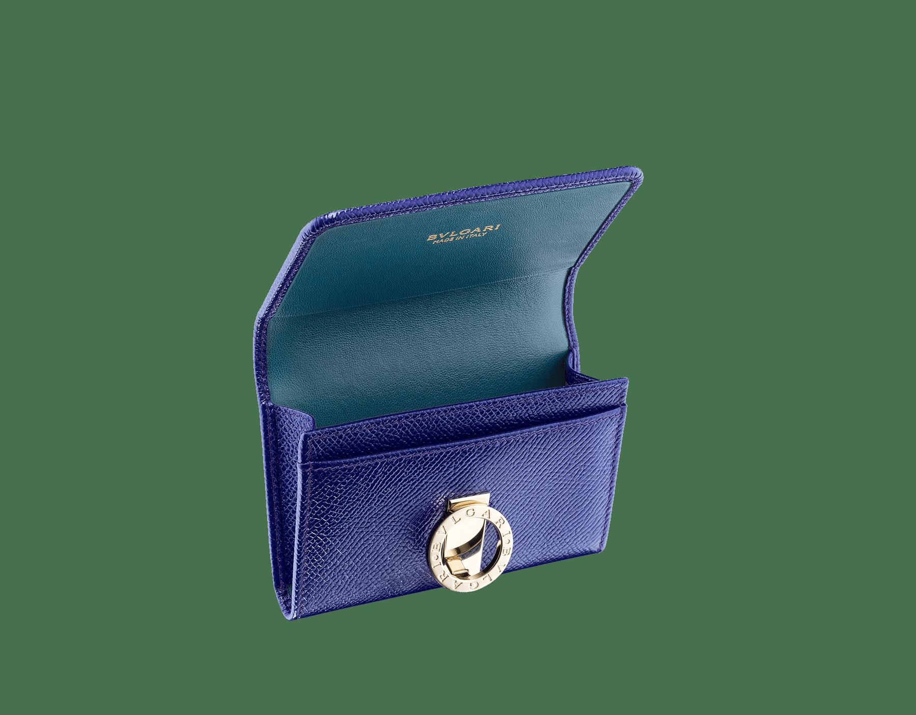 BVLGARI BVLGARI 名片夾,採用薄荷色亮珠面小牛皮和太妃石英色 Nappa 軟面皮。經典淡金色黃銅品牌標誌扣環。 579-BC-HOLDER-BGCLc image 2