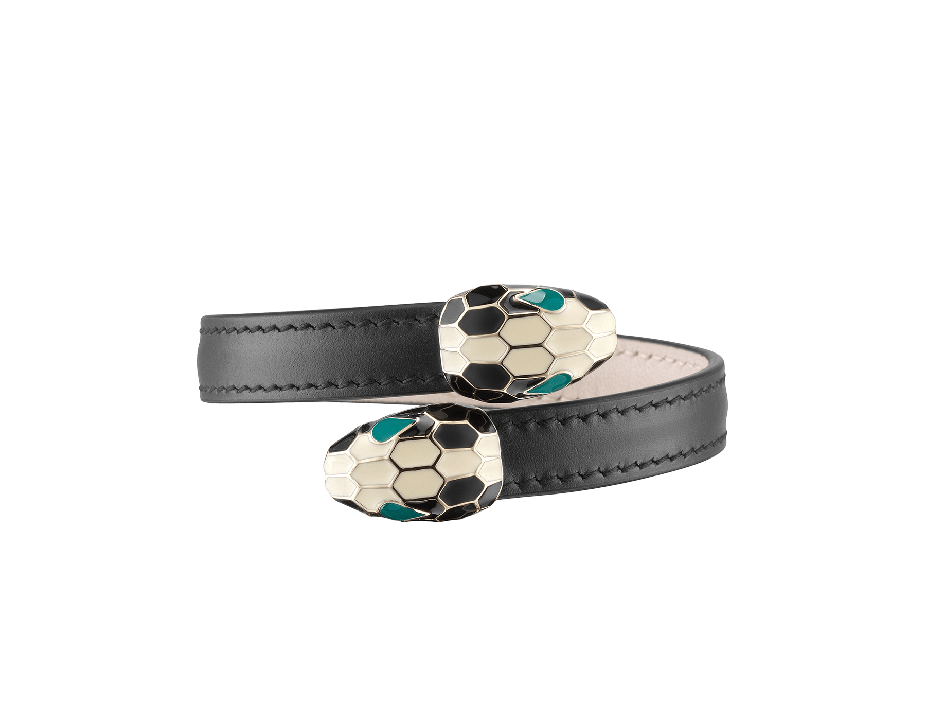 Serpenti Forever soft bangle bracelet in black calf leather, with brass light gold plated hardware. Iconic contraire snakehead décor in black and white enamel, with green enamel eyes. 287398 image 1