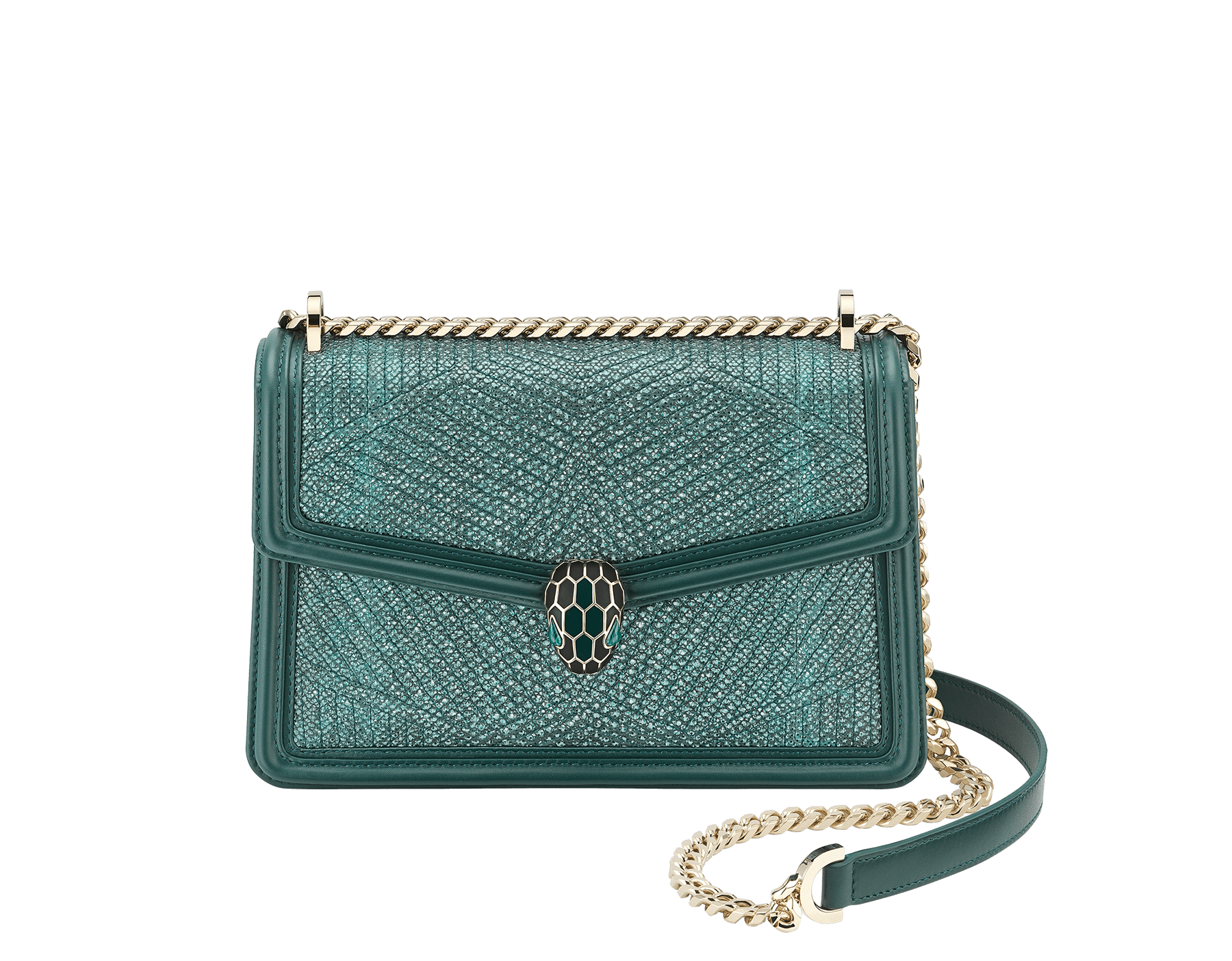 """Serpenti Diamond Blast"" shoulder bag in forest emerald quilted metallic karung skin and forest emerald calf leather frames. Iconic snakehead closure in light gold plated brass enriched with black and forest emerald enamel and green malachite eyes. Special Edition 289644 image 1"