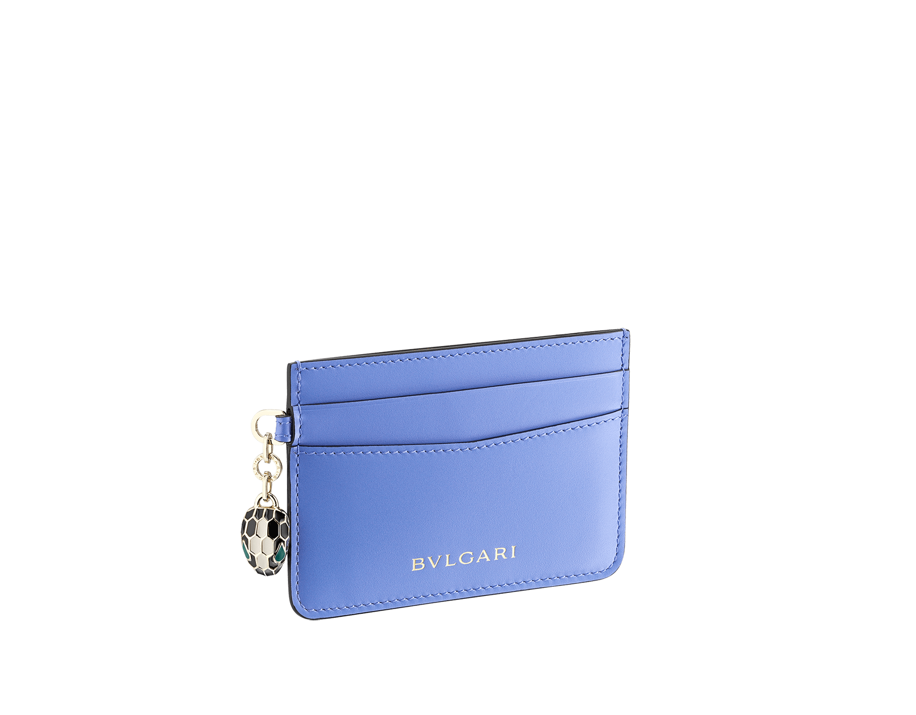 """""""Serpenti Forever"""" card holder in Lavander Amethyst lilac calf leather. Iconic light gold plated brass snakehead charm, finished with black and white agate enamel, and emerald green enamel eyes. SEA-CC-HOLDER-CLb image 1"""