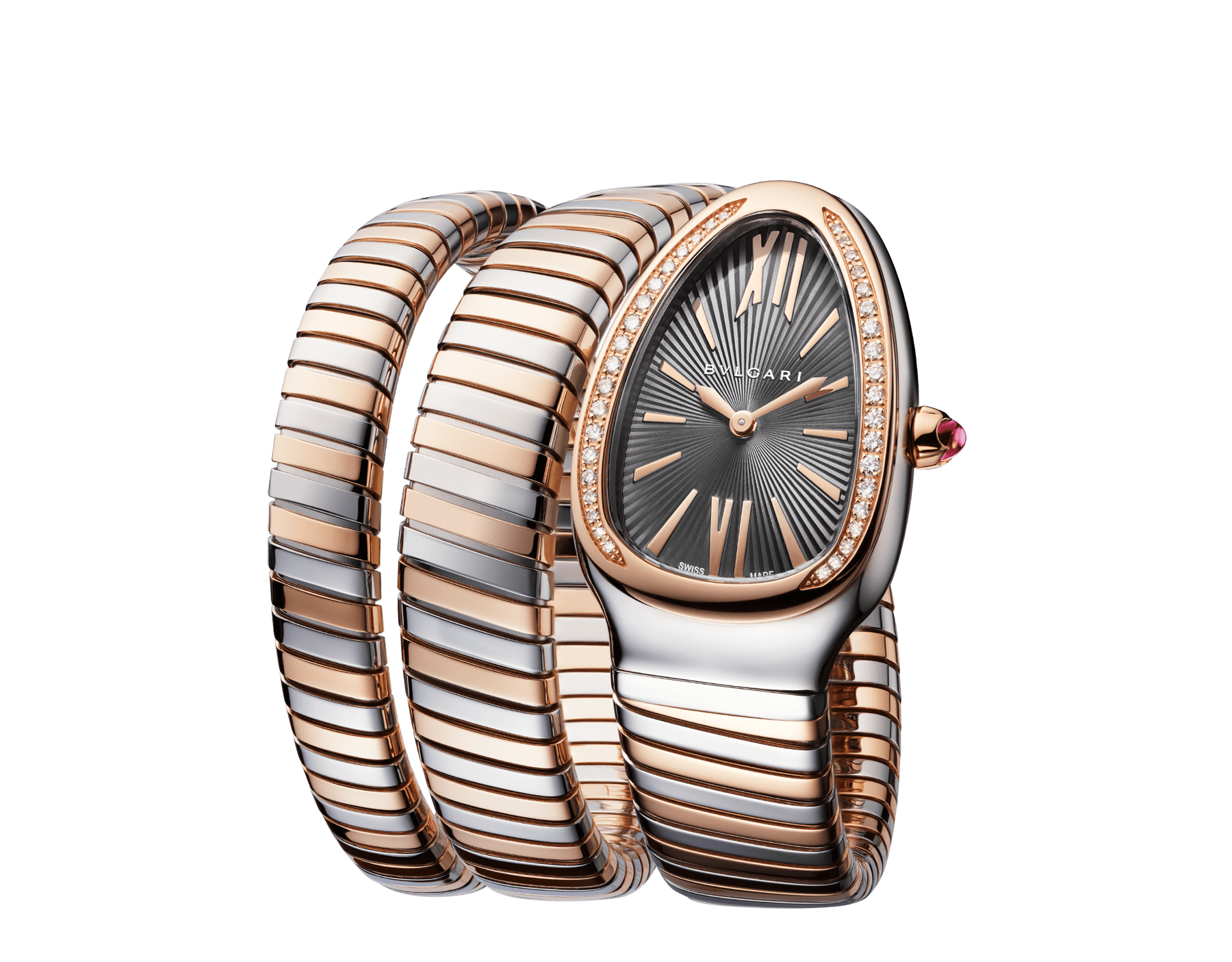 Serpenti Tubogas double spiral watch with stainless steel case, 18 kt rose gold bezel set with brilliant cut diamonds, grey lacquered dial, 18 kt rose gold and stainless steel bracelet. 102680 image 2