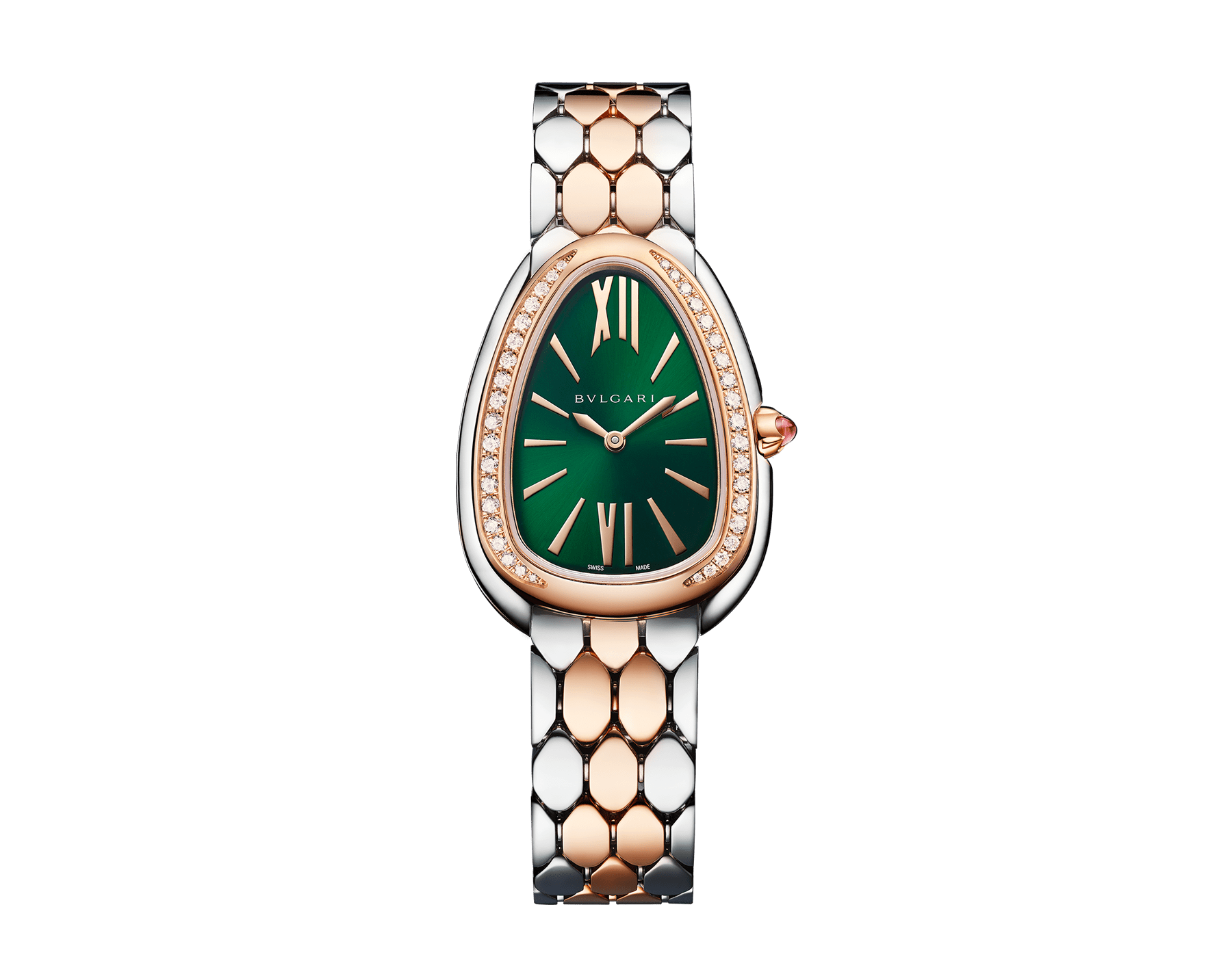 Serpenti Seduttori watch with stainless steel case, 18 kt rose gold bezel set with 38 round brilliant-cut diamonds (about 0.39 ct), green dial and 18 kt rose gold and stainless steel bracelet. Size 165 mm. Water-resistant up to 30 meters. Special Edition exclusive to United Kingdom and Middle East 103526 image 1