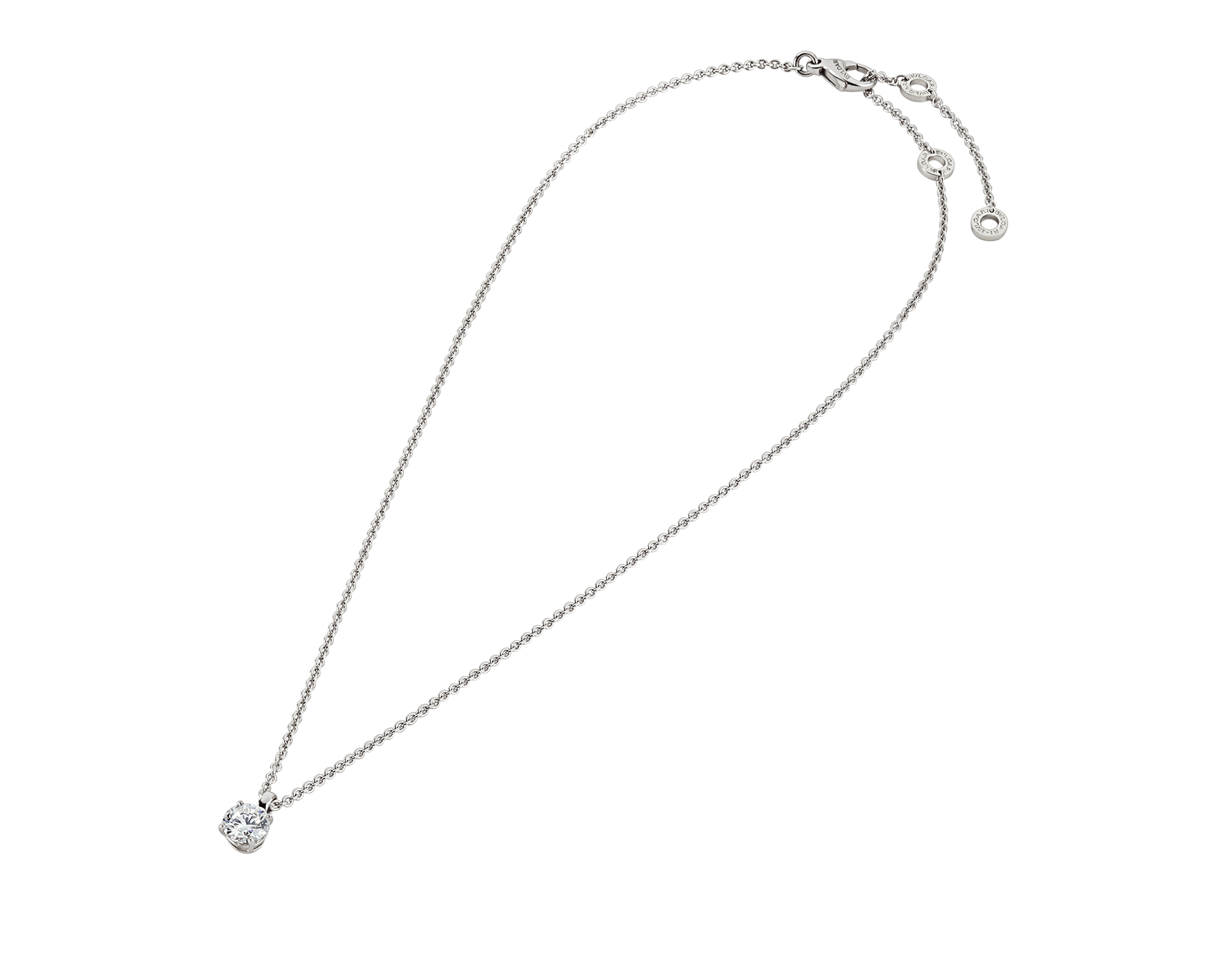 Griffe 18 kt white gold pendant with round brilliant cut diamond and 18 kt white gold chain 338201 image 2