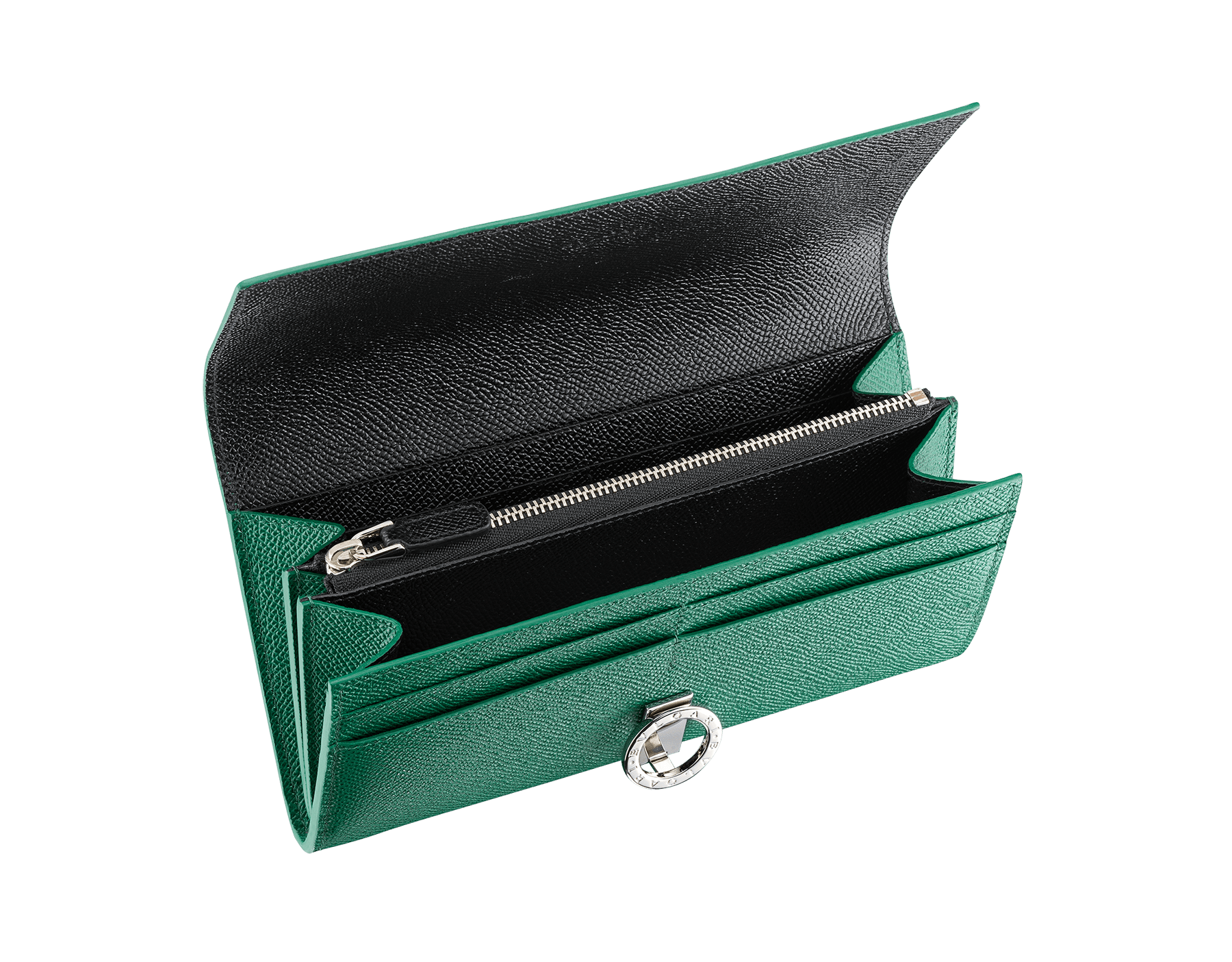BVLGARI BVLGARI wallet pochette in emerald green and black grain calf leather. Iconic logo clip closure in palladium plated brass. 289379 image 2