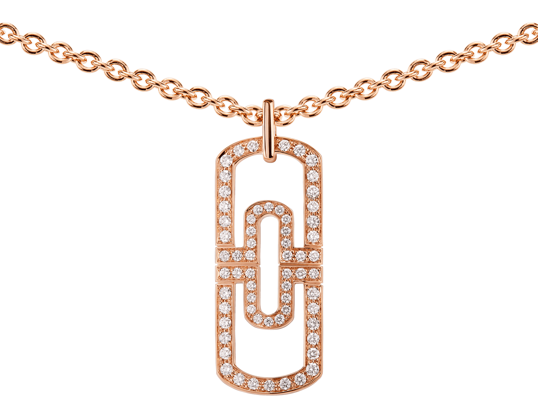 Parentesi necklace with 18 kt rose gold chain and 18 kt rose gold pendant set with full pavé diamonds 349184 image 3