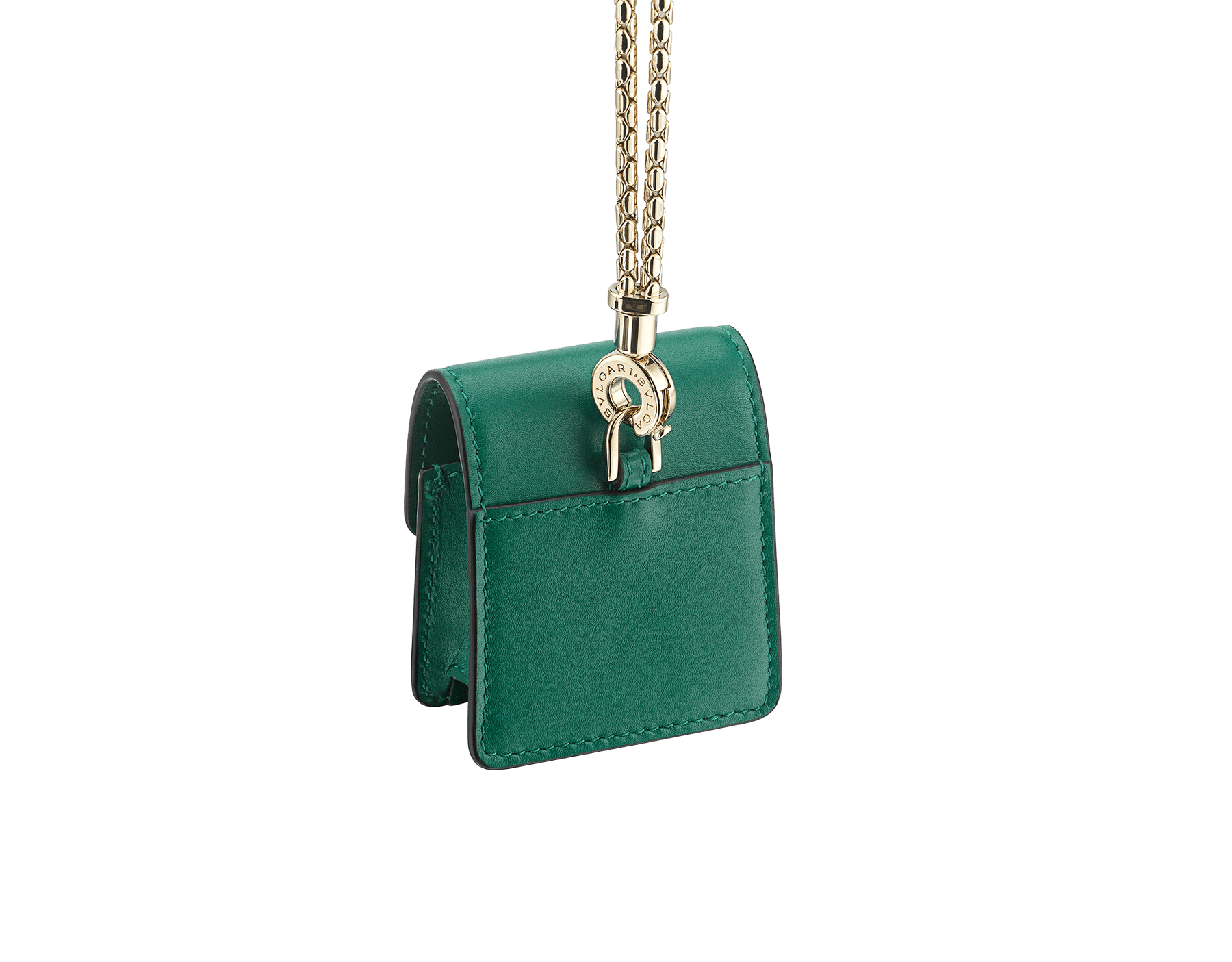 Serpenti Forever Earbuds holder in emerald green calf leather. Light gold plated brass Serpenti head closure in black and white enamel, with green enamel eyes. 289095 image 3