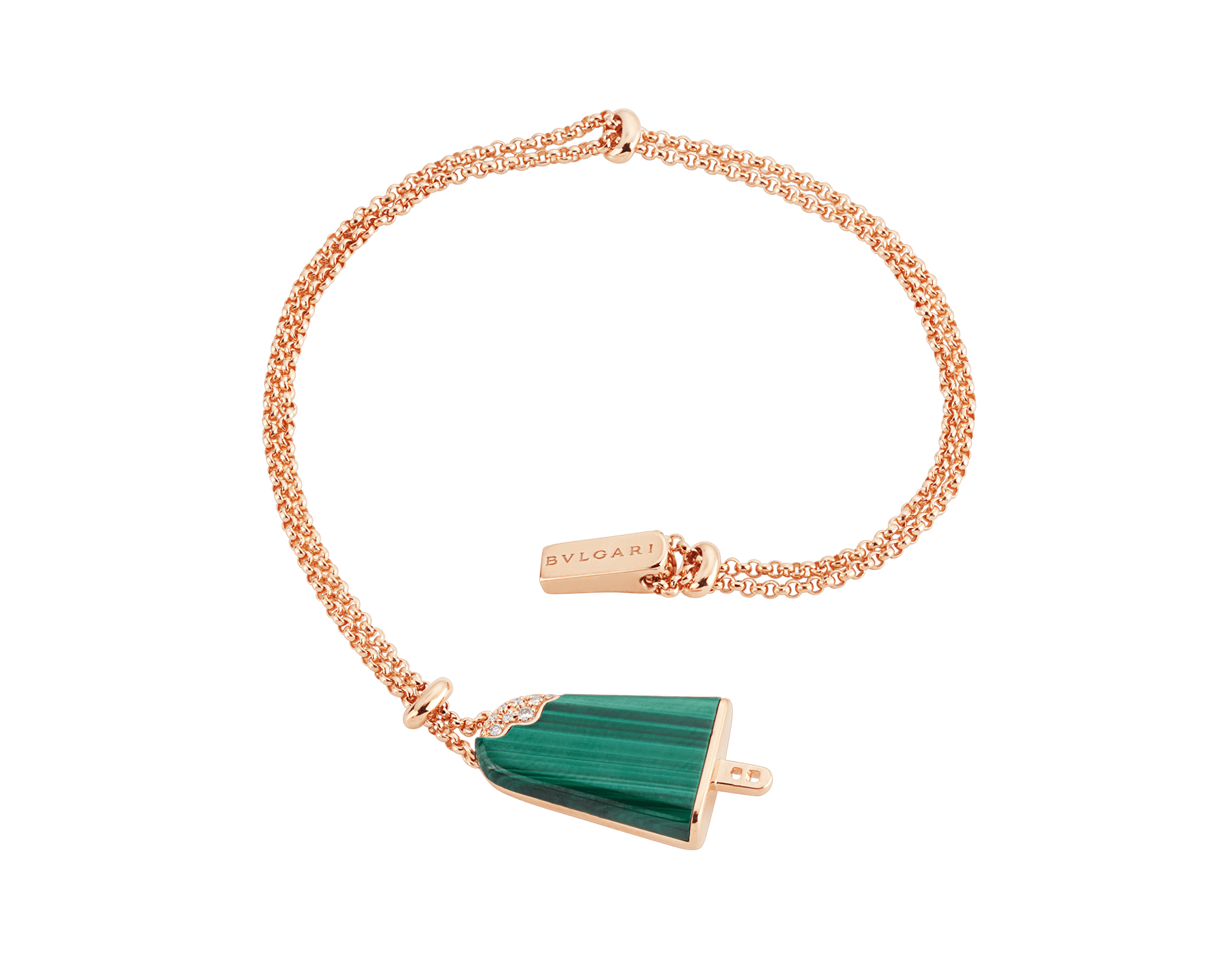 BVLGARI BVLGARI Gelati 18 kt rose gold soft bracelet set with malachite and pavé diamonds BR858327 image 2