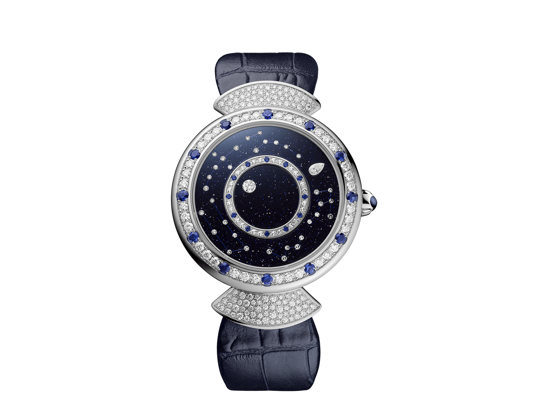 DIVAS' DREAM watch with mechanical manufacture movement, automatic winding, 18 kt white gold case set with round brilliant-cut diamonds and sapphires, aventurine rotating discs with diamonds and printed constellations and dark blue alligator bracelet 102842 image 1