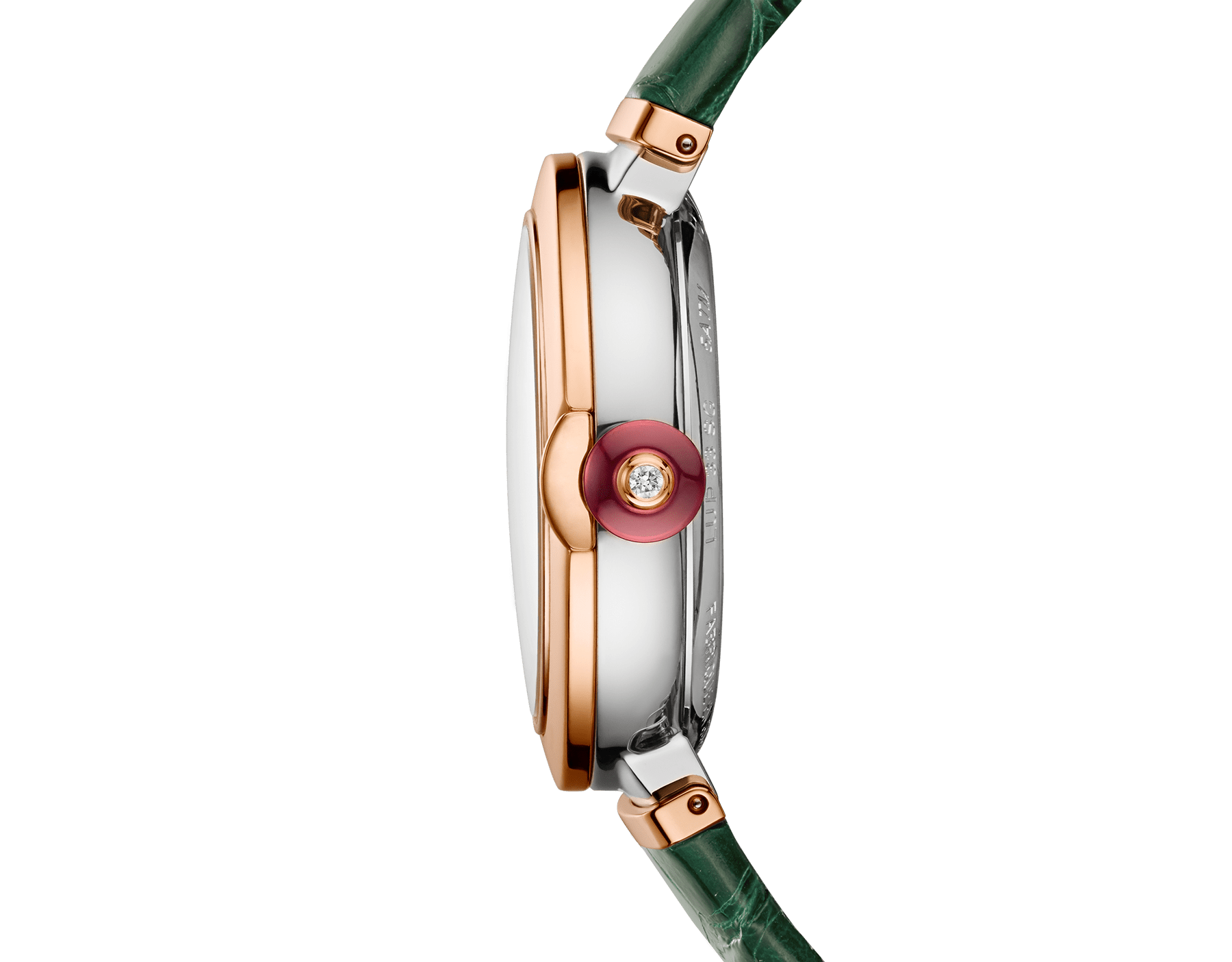LVCEA watch with 18 kt rose gold and stainless steel case, white mother-of-pearl dial set with diamond indexes, date aperture and green alligator bracelet. 102640 image 3