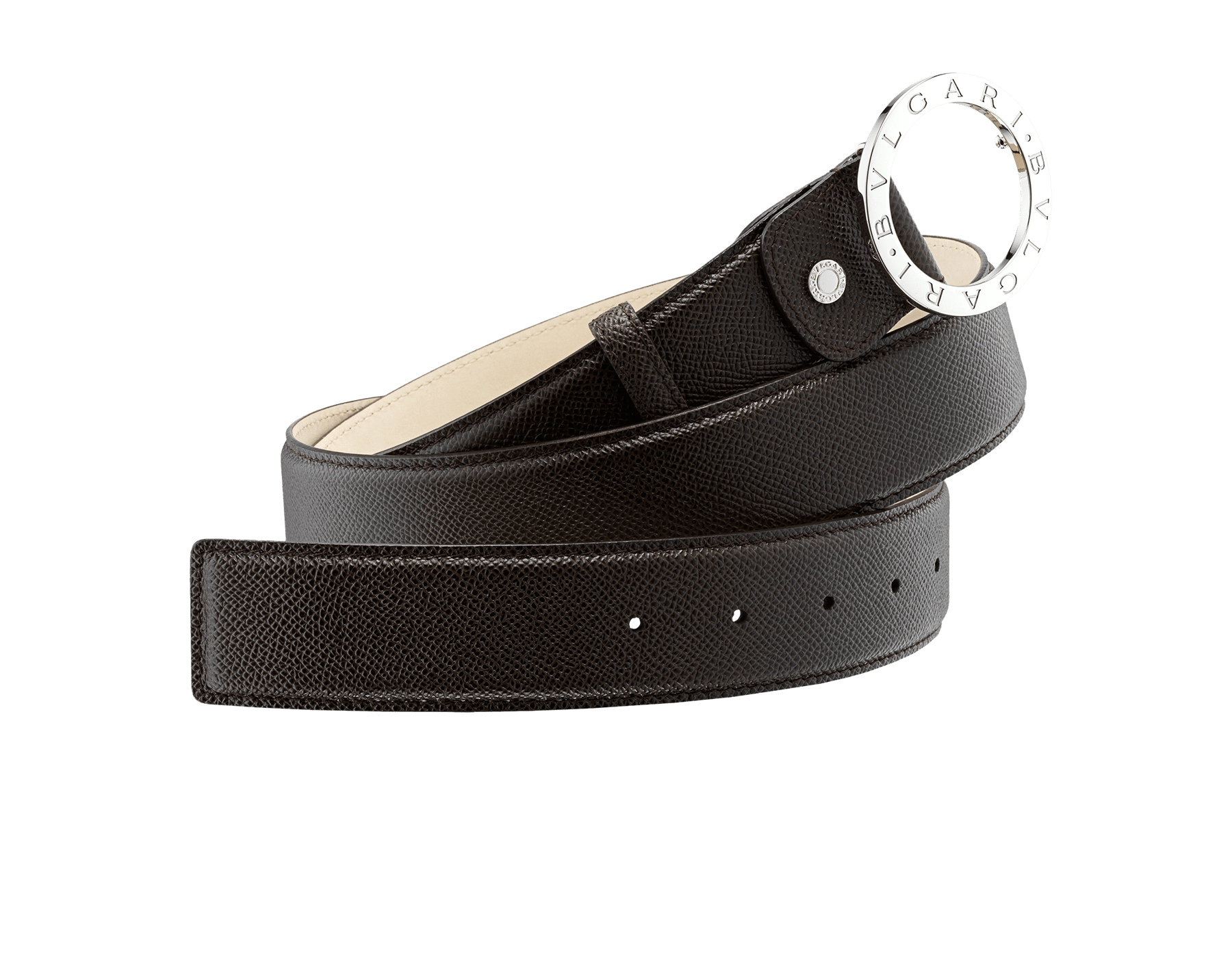 Man Belt in black grain calf leather with iconic round BVLGARI BVLGARI closure in brass palladium plated hardware. ROUND-CURVED-gcl image 1