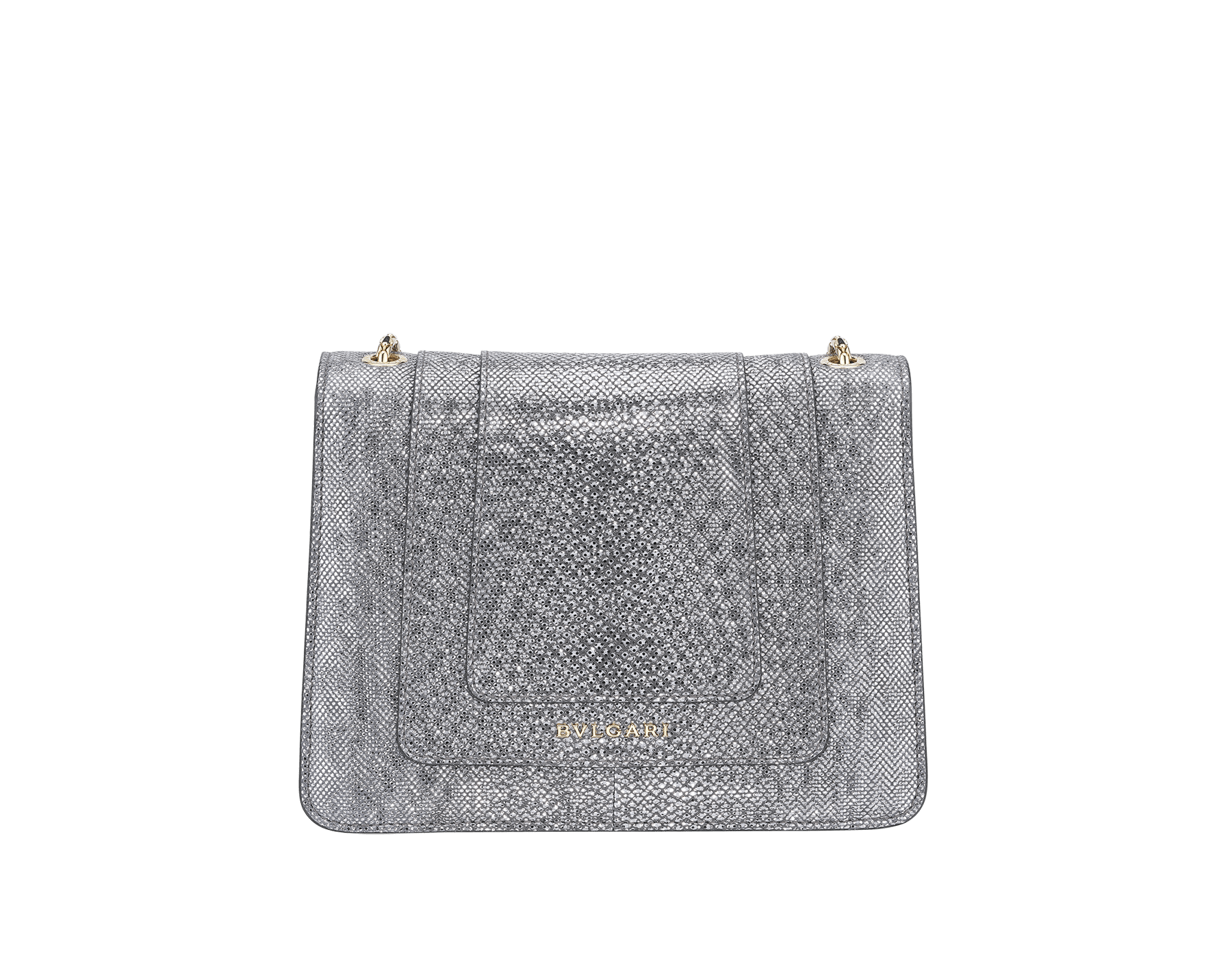 Serpenti Forever crossbody bag in charcoal diamond metallic karung skin. Snakehead closure in light gold plated brass decorated with glitter charcoal diamond and shiny black enamel, and black onyx eyes. 287939 image 3