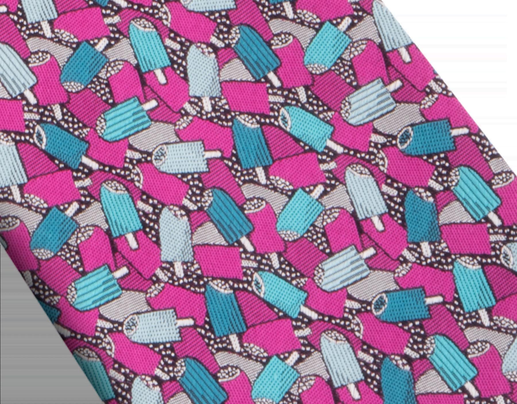 """Fuchsienfarbene Krawatte mit """"Double Dripping"""" Muster aus feiner Seide. 243435 image 2"""