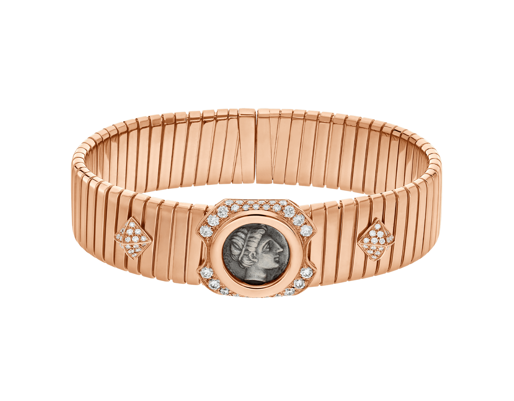 Monete 18 kt rose gold bracelet set with an ancient coin and pavé diamonds. The coins used are in bronze or silver and come from the Mediterranean basin and Europe. Some of them date back to the 5th century B.C., others are from the 5th century A.D. A brief description of each coin's origin is engraved on the reverse of the setting. 356508 image 2