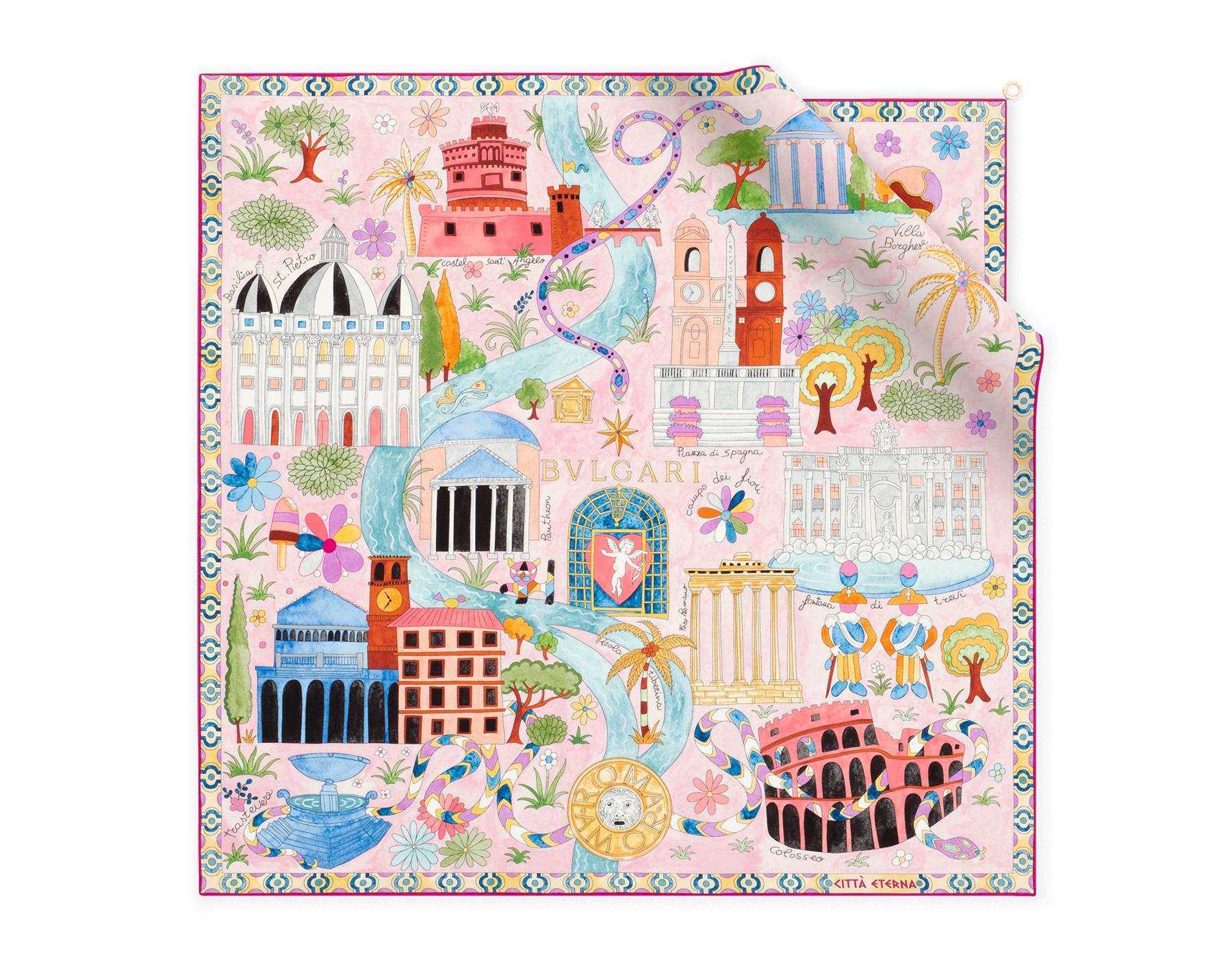 "Light pink ""Città Eterna"" scarf in fine silk twill. 244455 image 1"