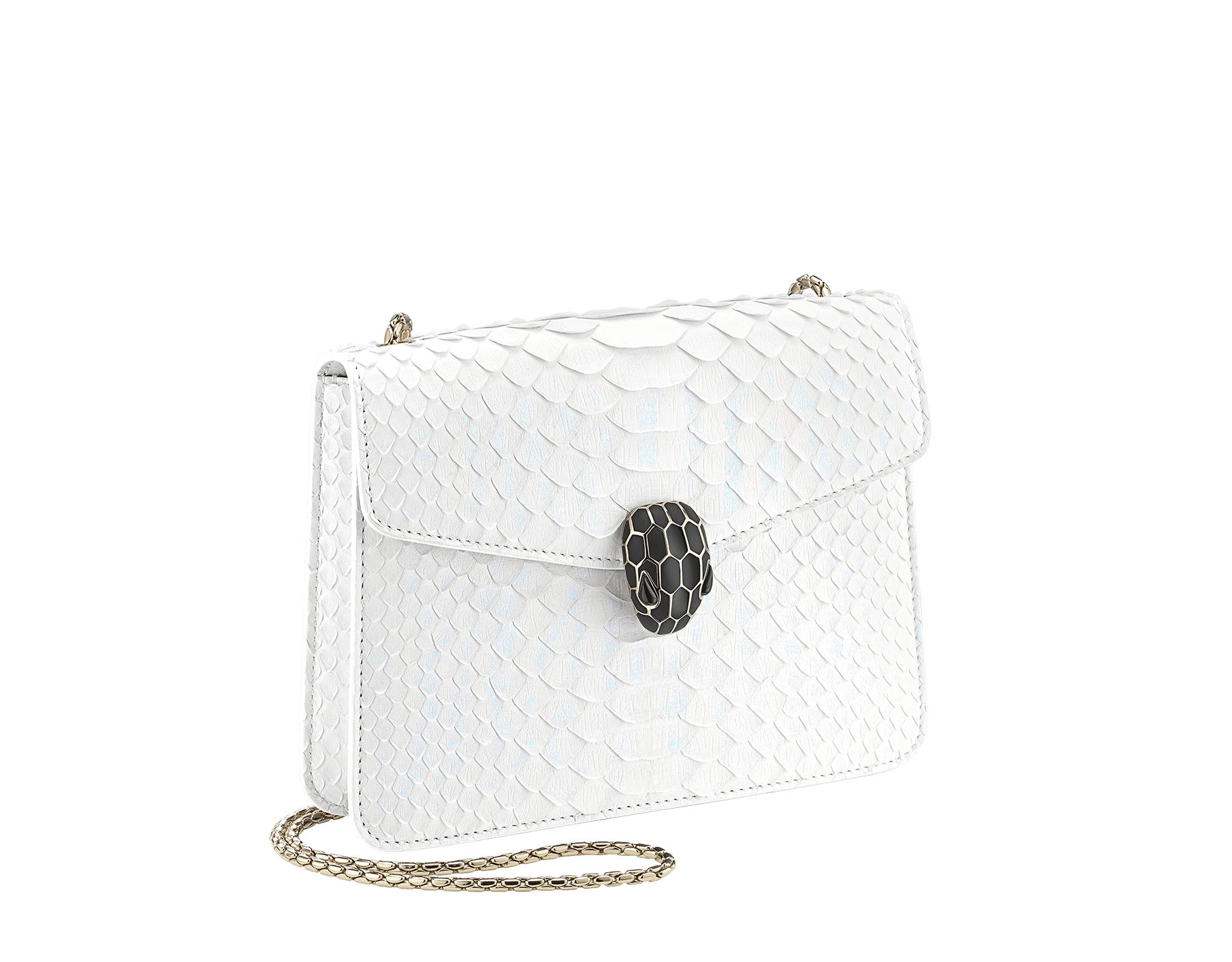 """Serpenti Forever"" crossbody bag in white agate python skin with an iridescent finishing. Iconic snake head closure in light gold plated brass enriched with matte and shiny black enamel, and black onyx eyes. 422-Pa image 2"